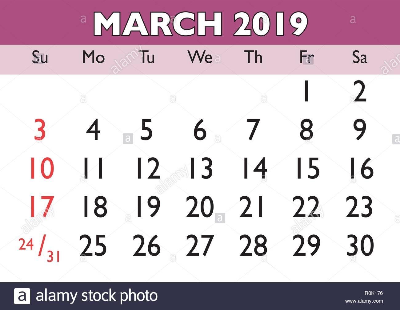 2019 Calendar March Month. Vector Printable Calendar