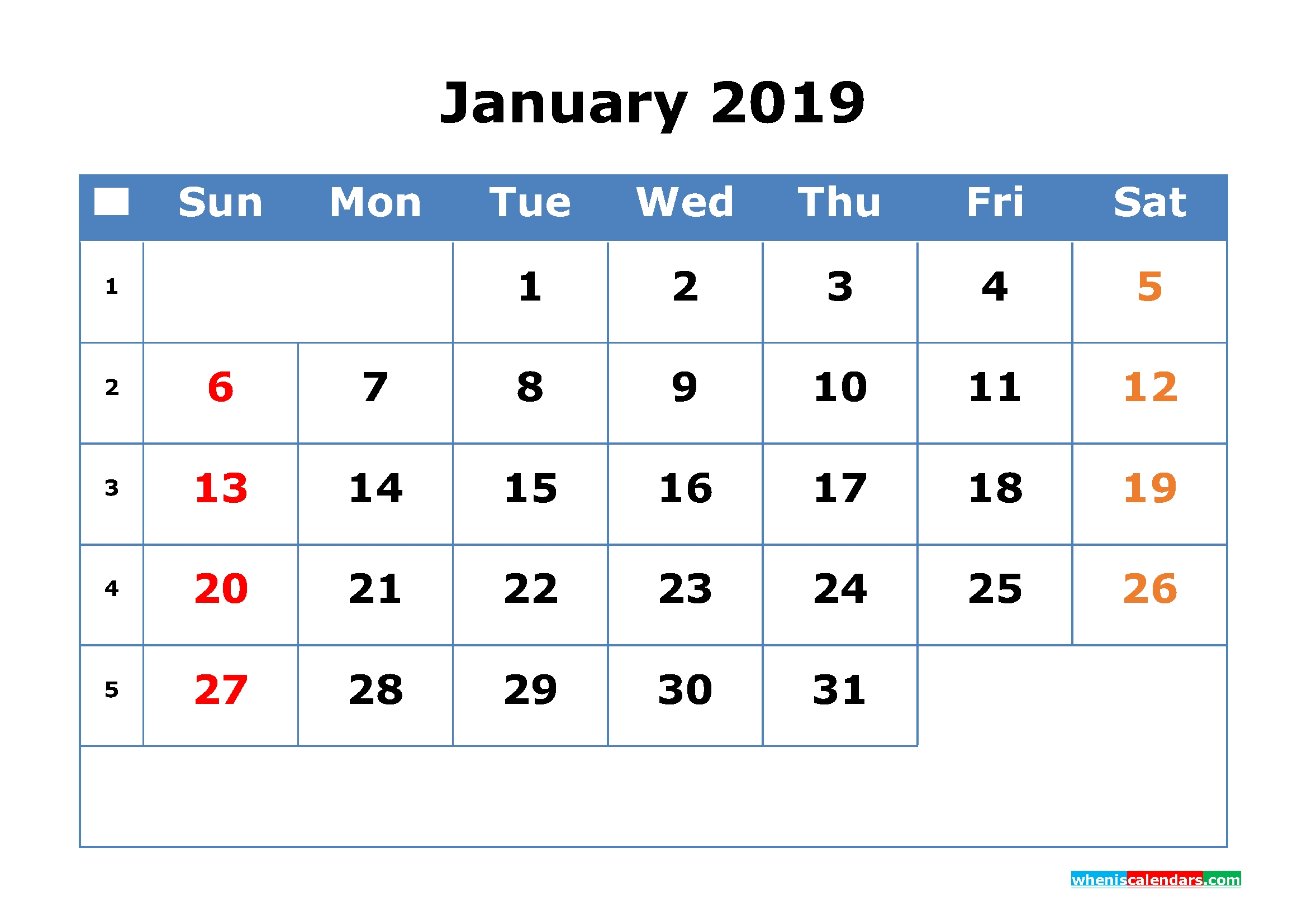 2019 Calendar With Week Numbers Printable As Pdf, Image