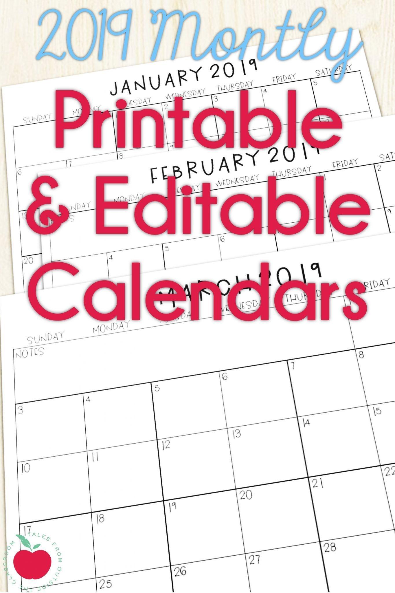 2019 Calendars For The Classroom | Classroom Calendar