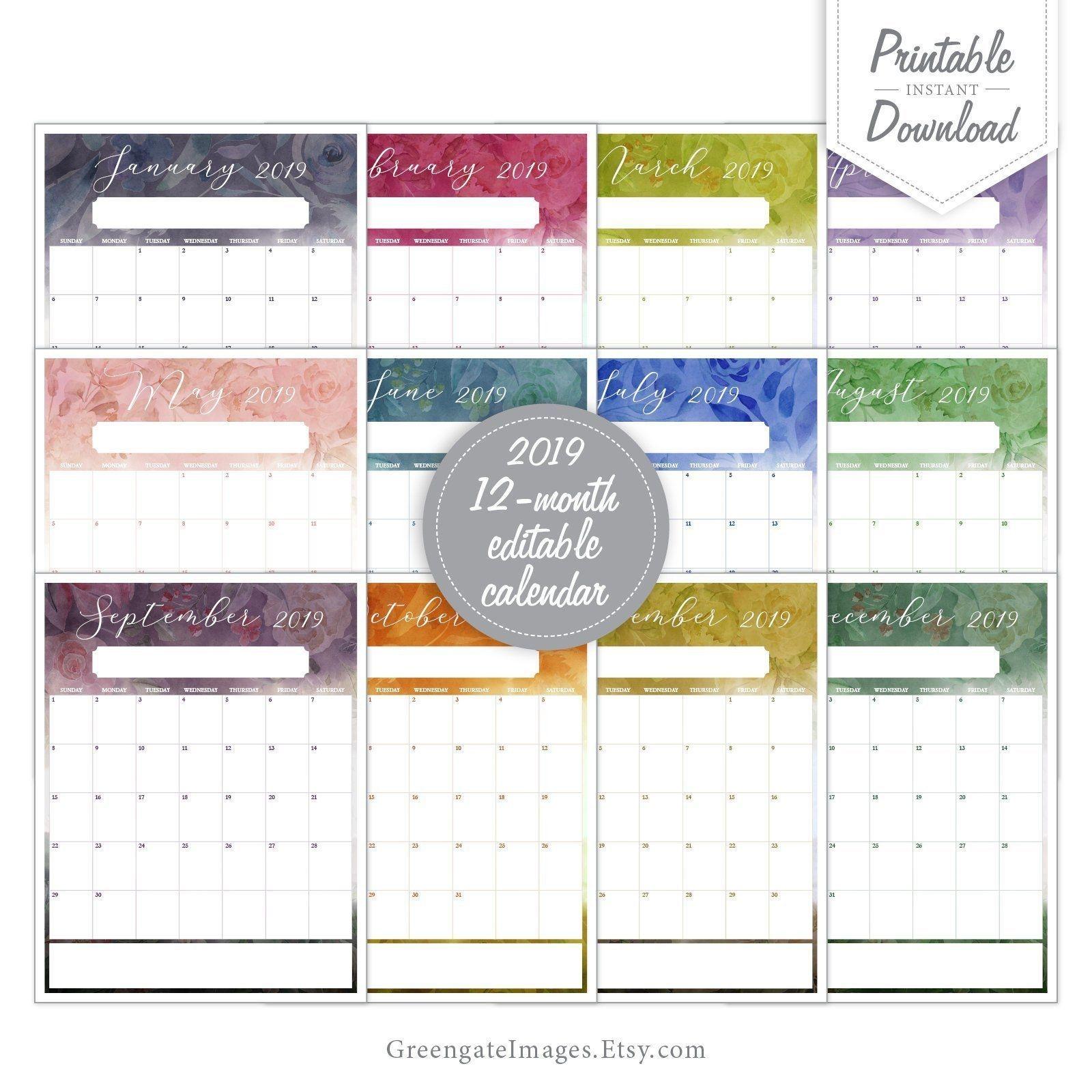 2019 Editable Calendar - Fillable Calendar, 12 Month