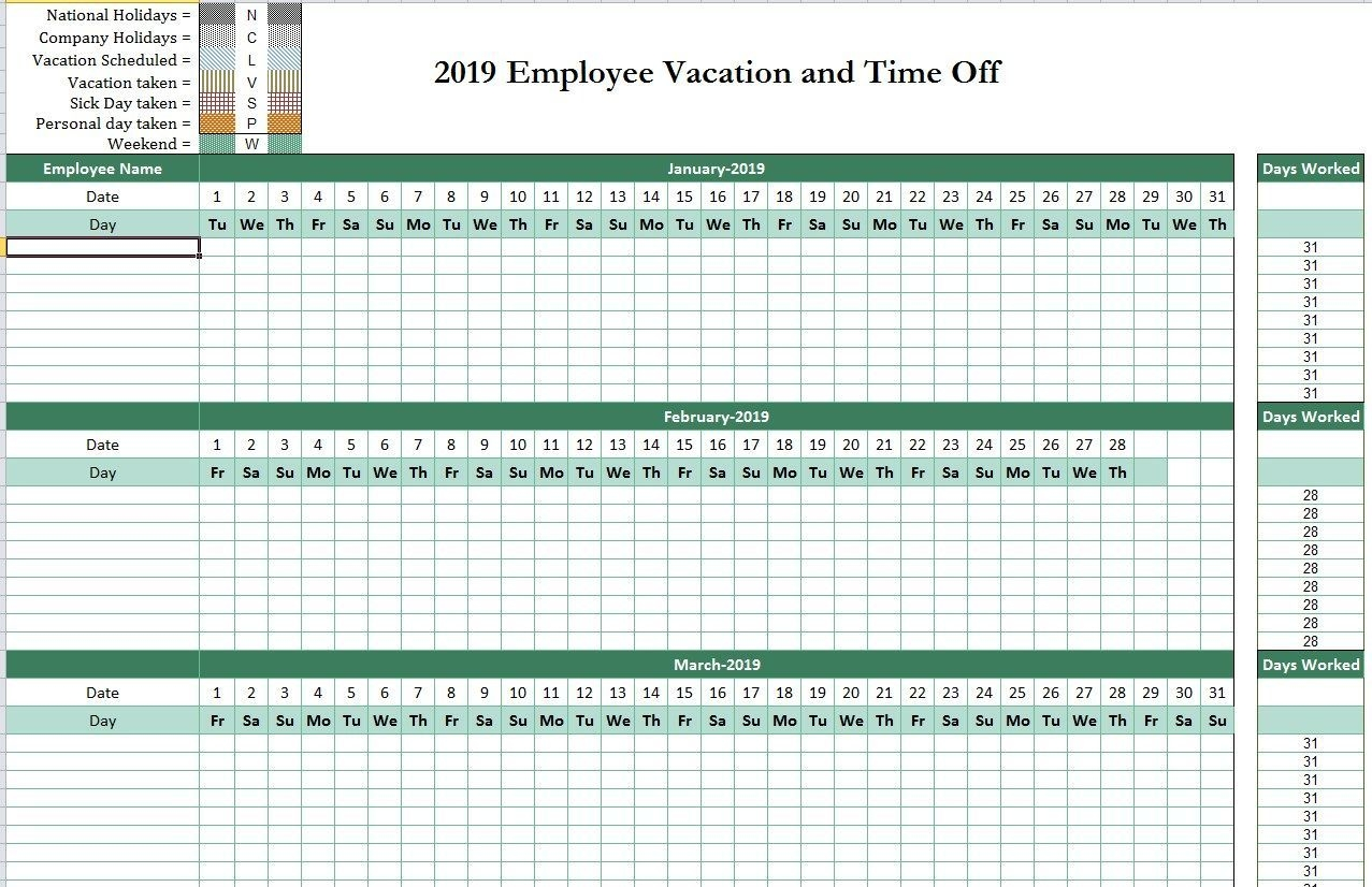 2019 Employee Attendance Tracking Calendar (With Images