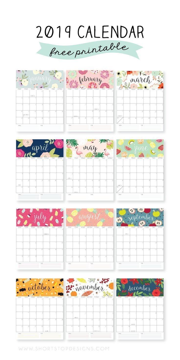 2019 Printable Calendar (Met Afbeeldingen) | Afdrukbare