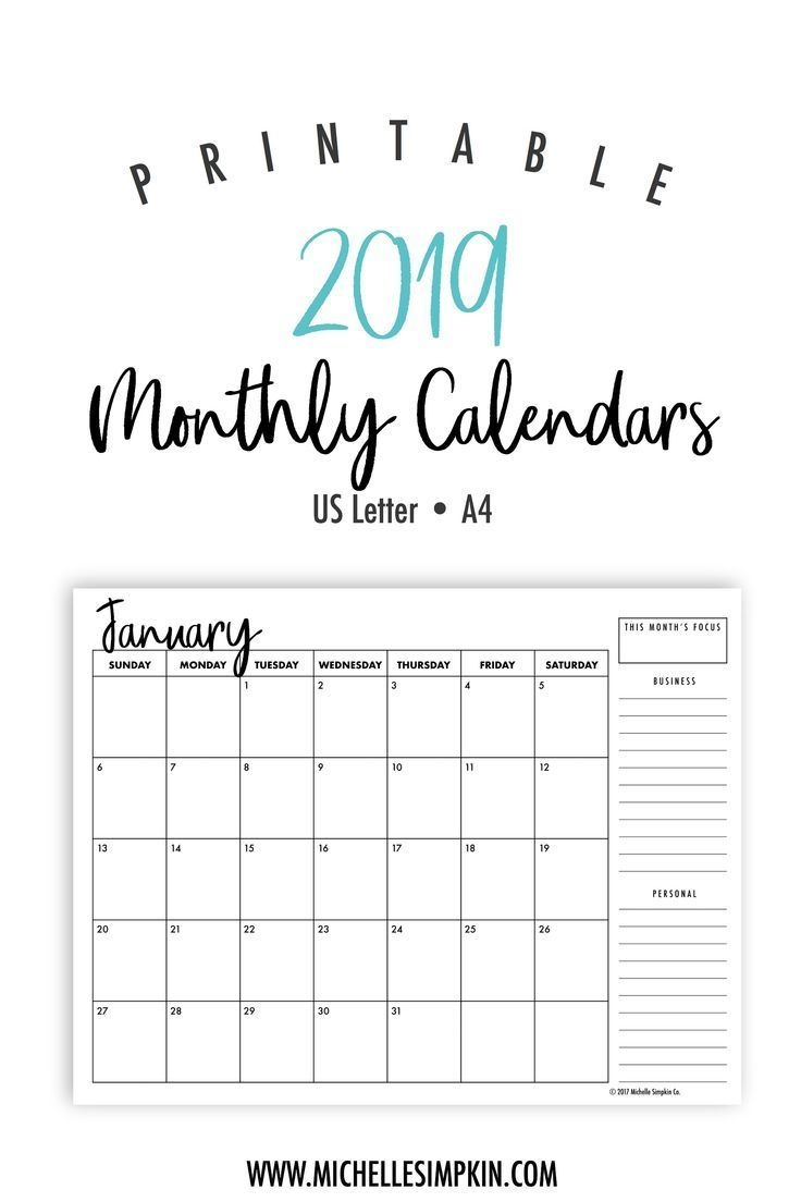 2019 Printable Calendars - Plan Out Next Year With These Ink