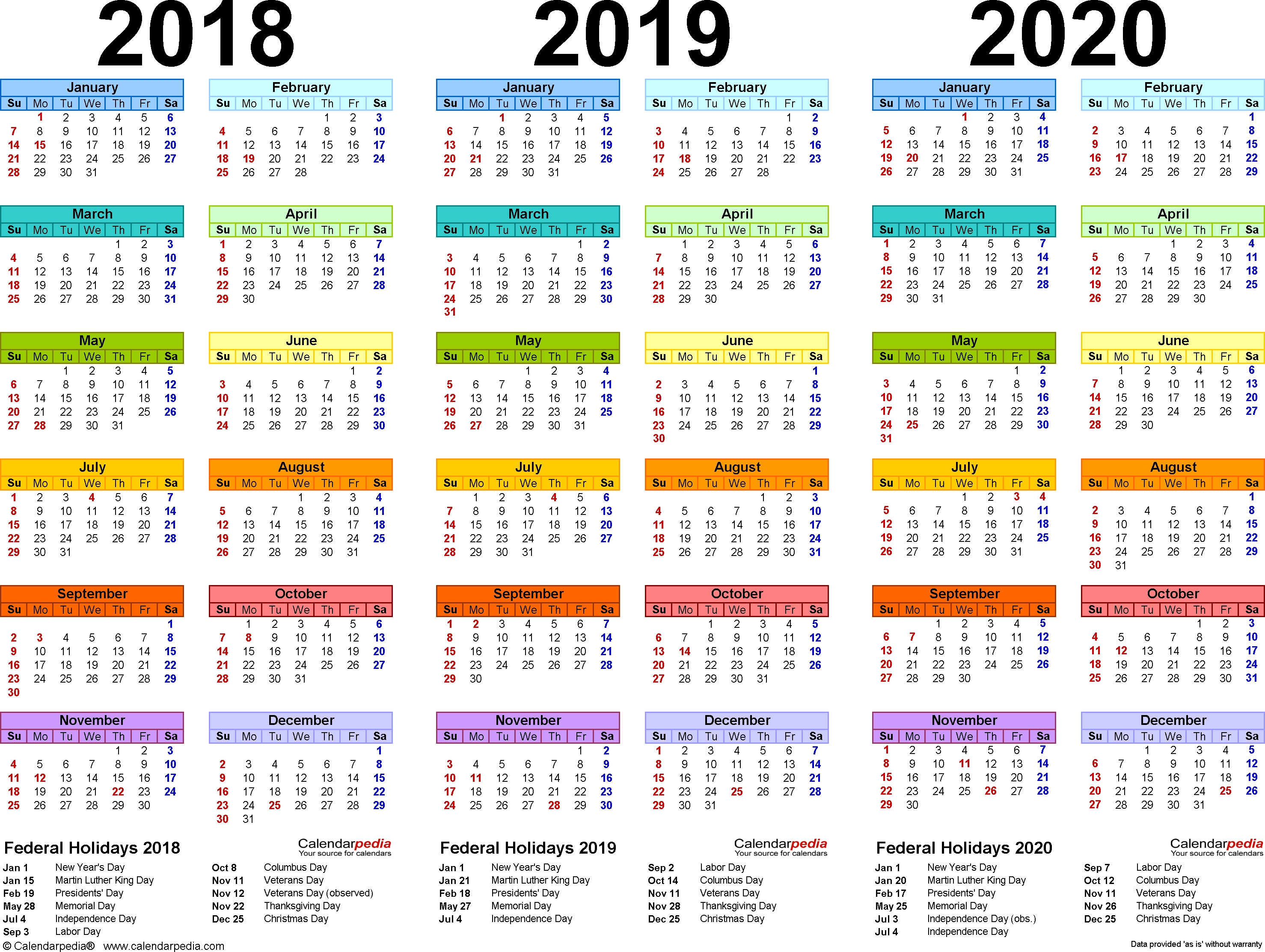 2019 Yearly Calendar – Free Download (Con Imágenes