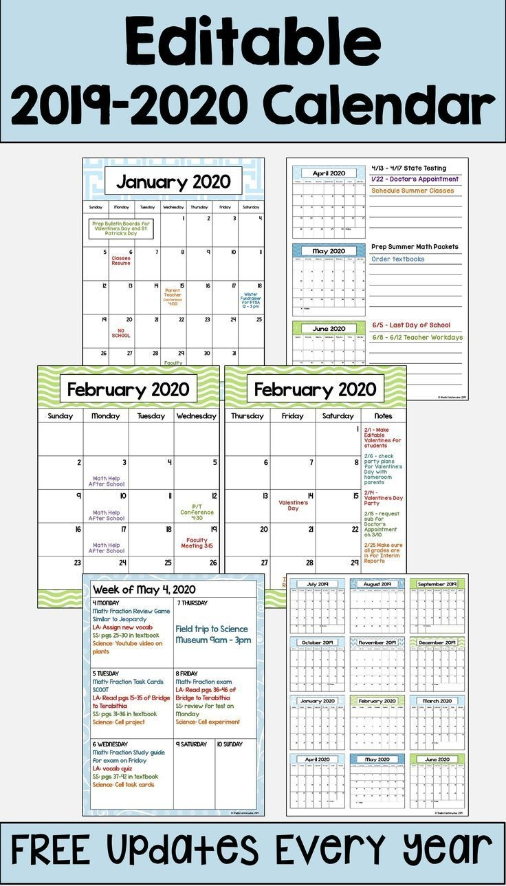 2020-2021 Calendar Printable And Editable With Free Updates