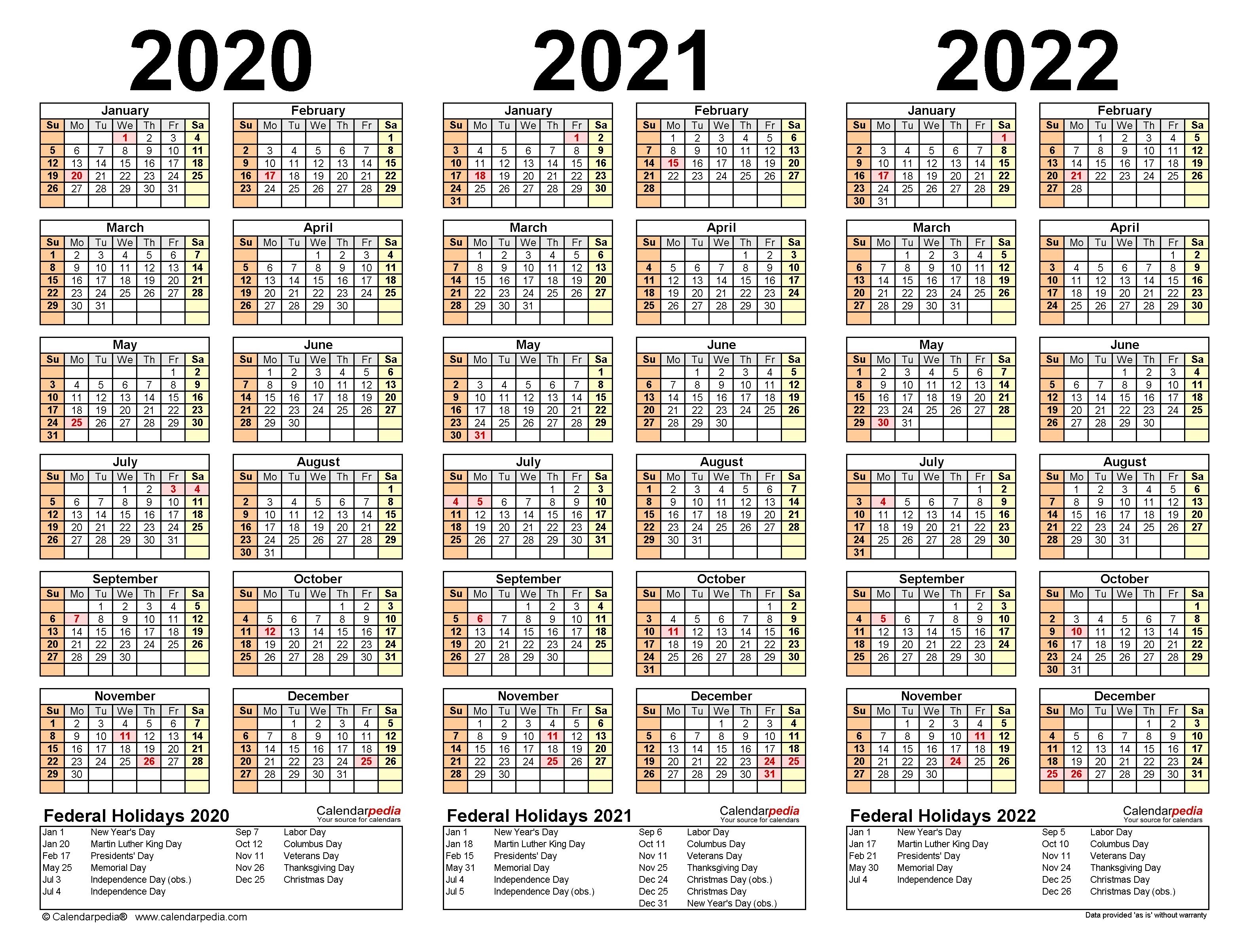2020-2022 Three Year Calendar - Free Printable Pdf Templates