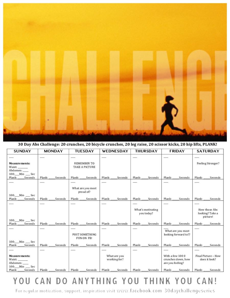 2020 30-Day Workout Plan - Fillable, Printable Pdf & Forms