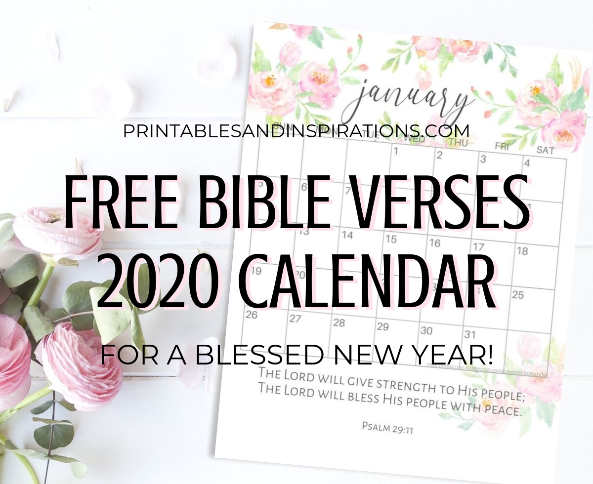 2020 Bible Verse Calendar Free Printable! - Printables And