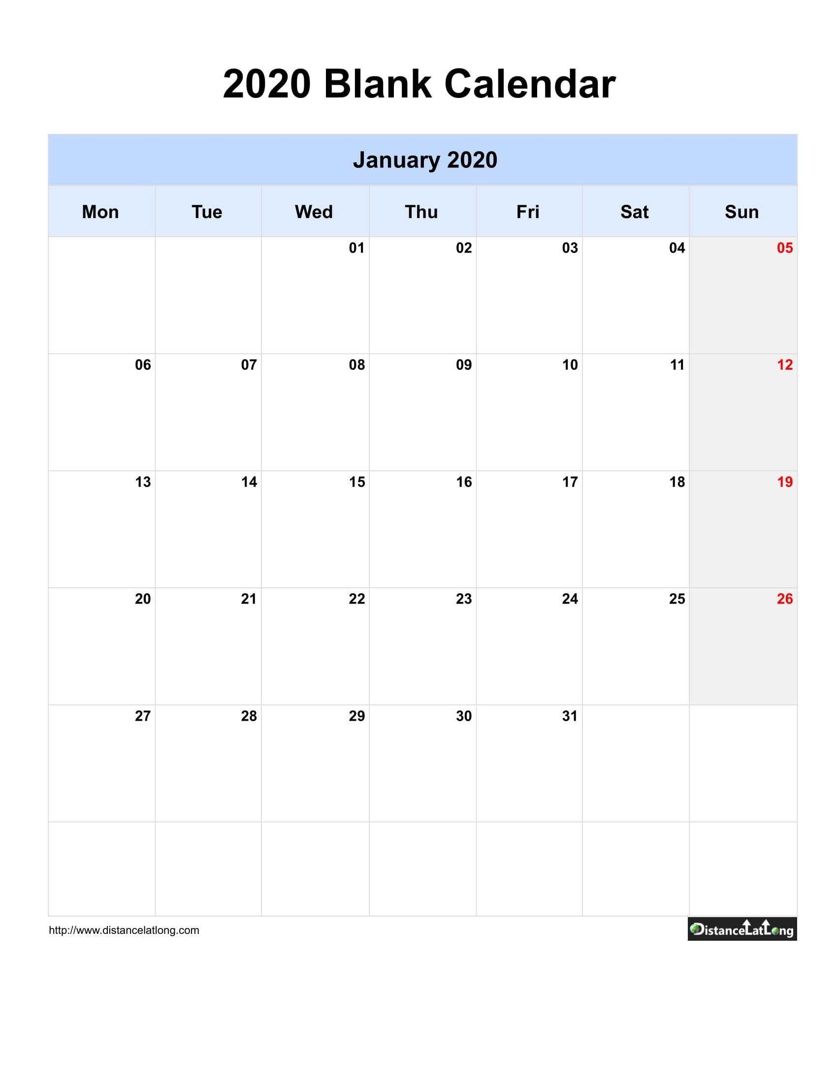 2020 Blank Calendar Blank Portrait Orientation Free
