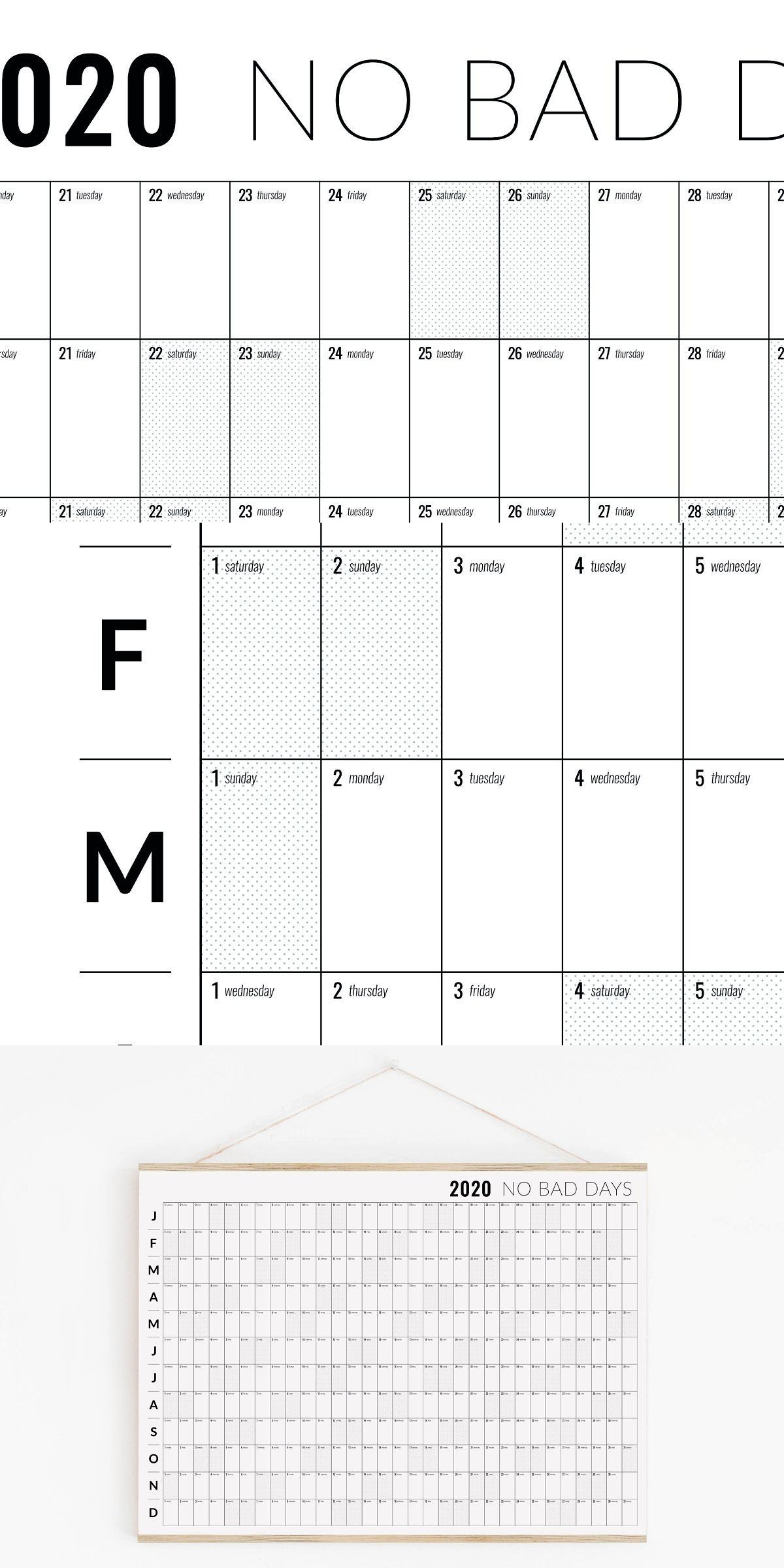 2020 Block Calendar Printable | Block Calendar, Calendar