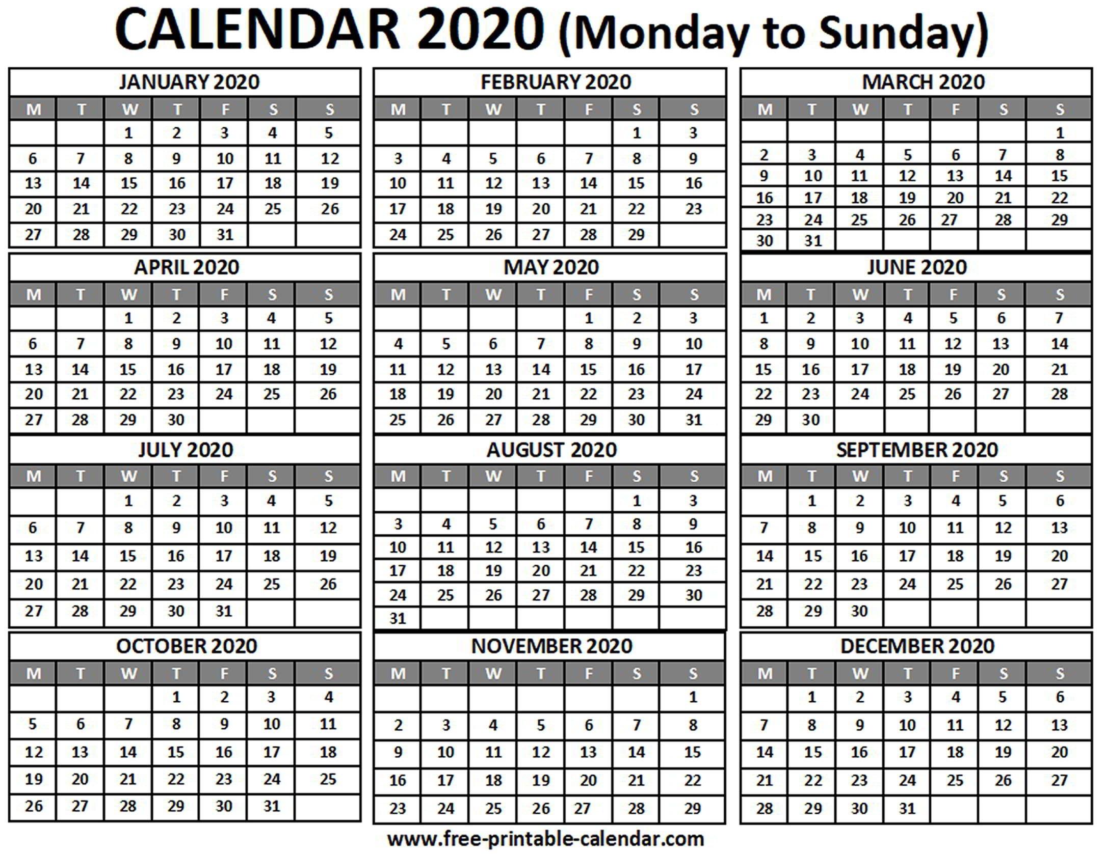 2020 Calendar - Free-Printable-Calendar