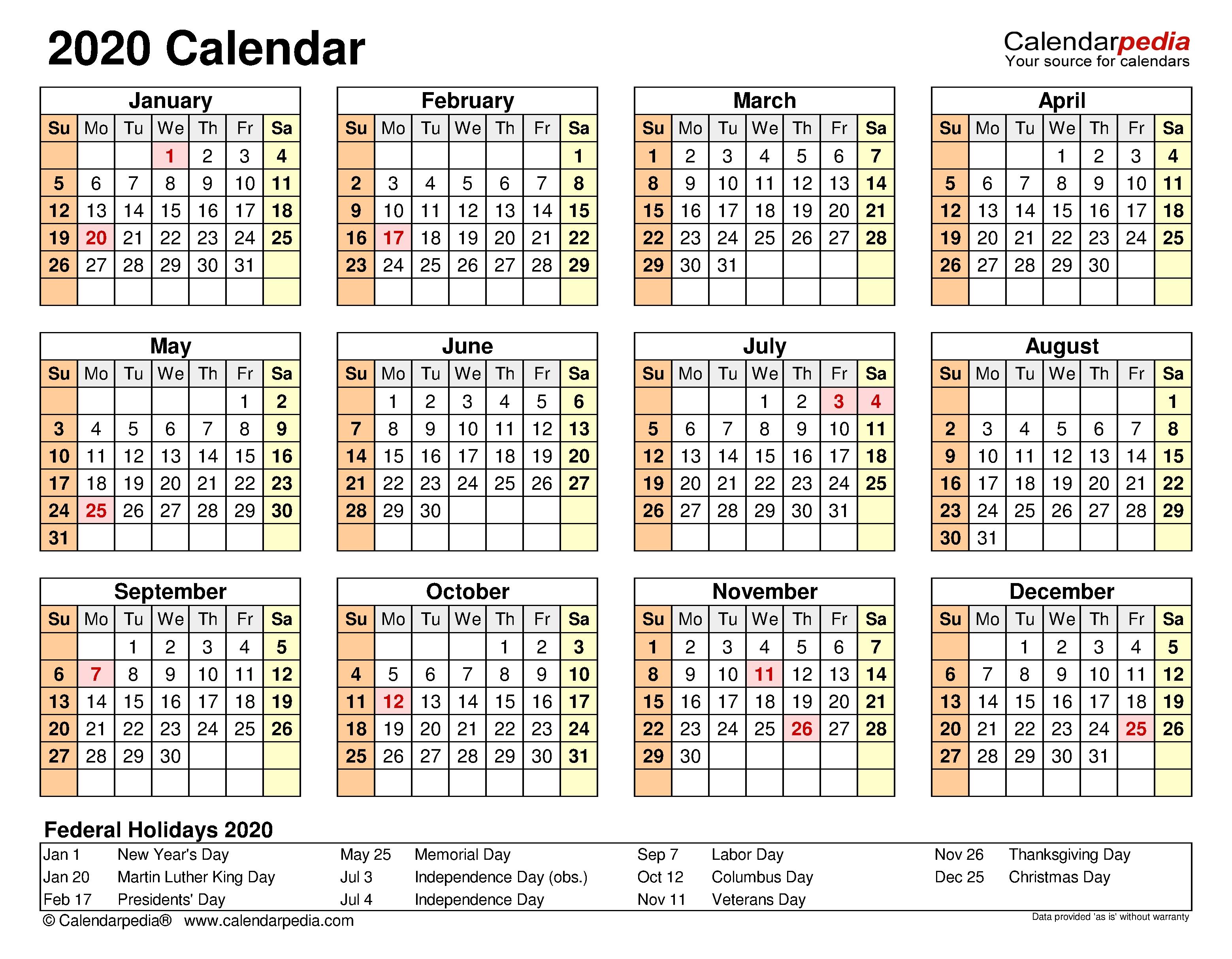 2020 Calendar - Free Printable Microsoft Excel Templates