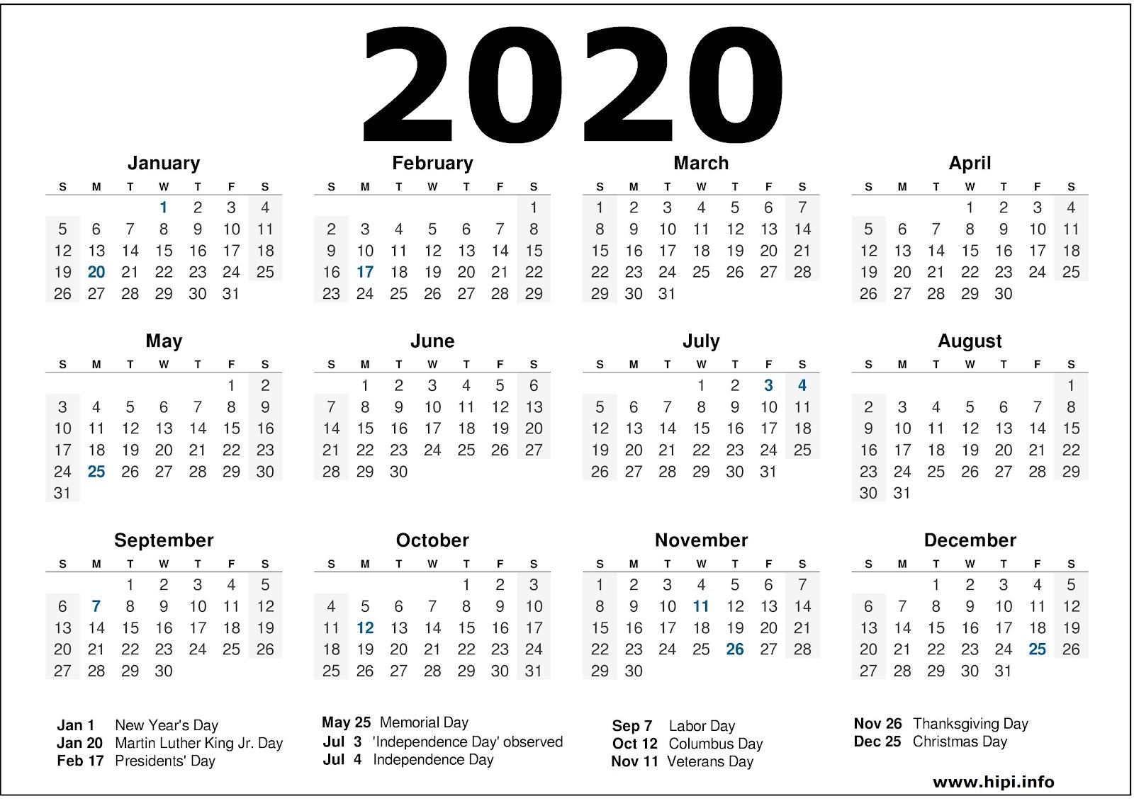 2020 Calendar Printable With Holidays - 2020 Calendar