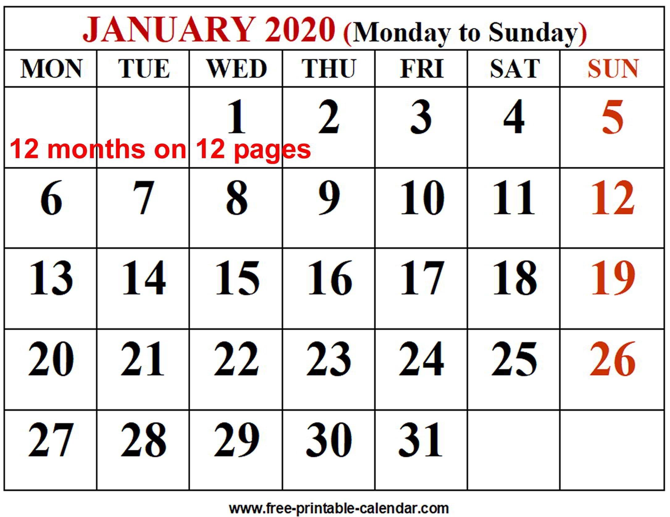 2020 Calendar Template - Free-Printable-Calendar