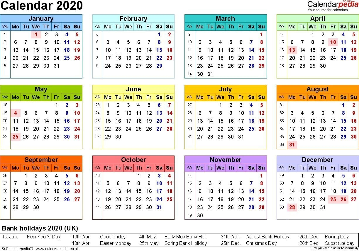 2020 Calendar Uk Printable In 2020 (With Images) | Calendar