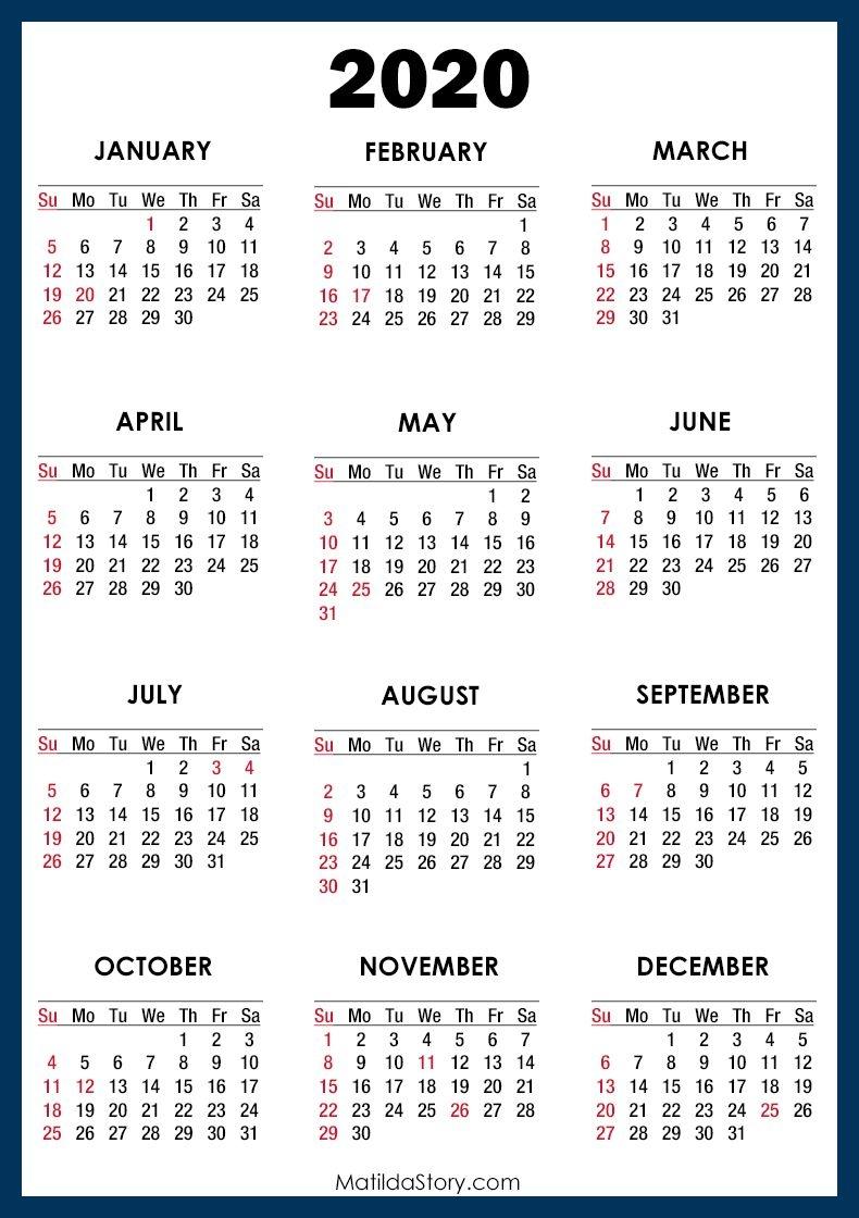 2020 Calendar With Holidays, Printable Free, Blue – Sunday