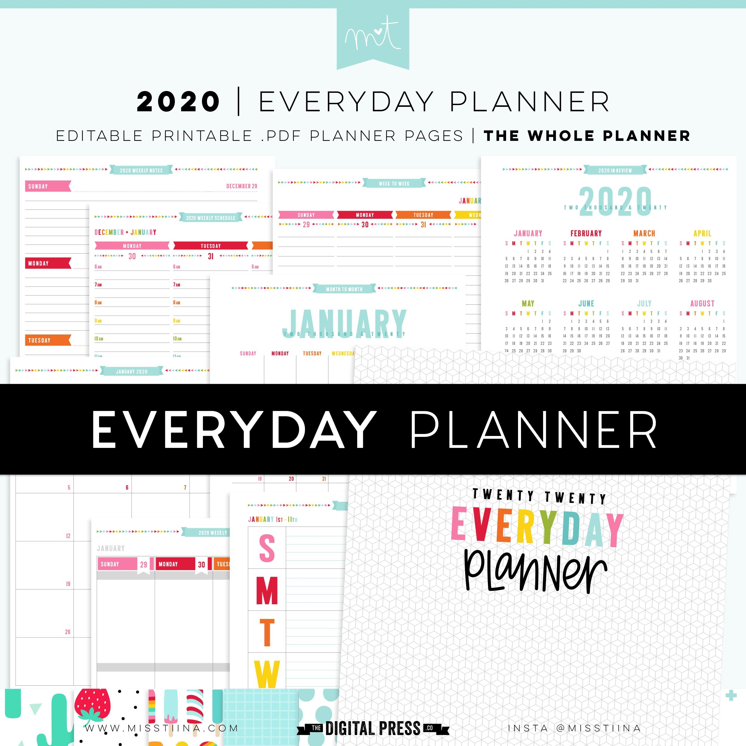 2020 Everyday Planner Whole - Now Editable By Miss Tiina