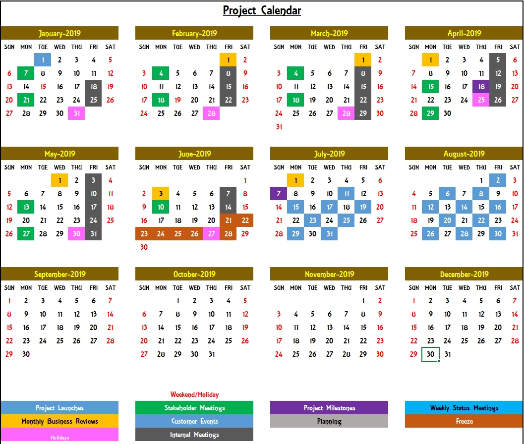 2020 Excel Calendar Template - Excel Calendar 2020 Or Any Year
