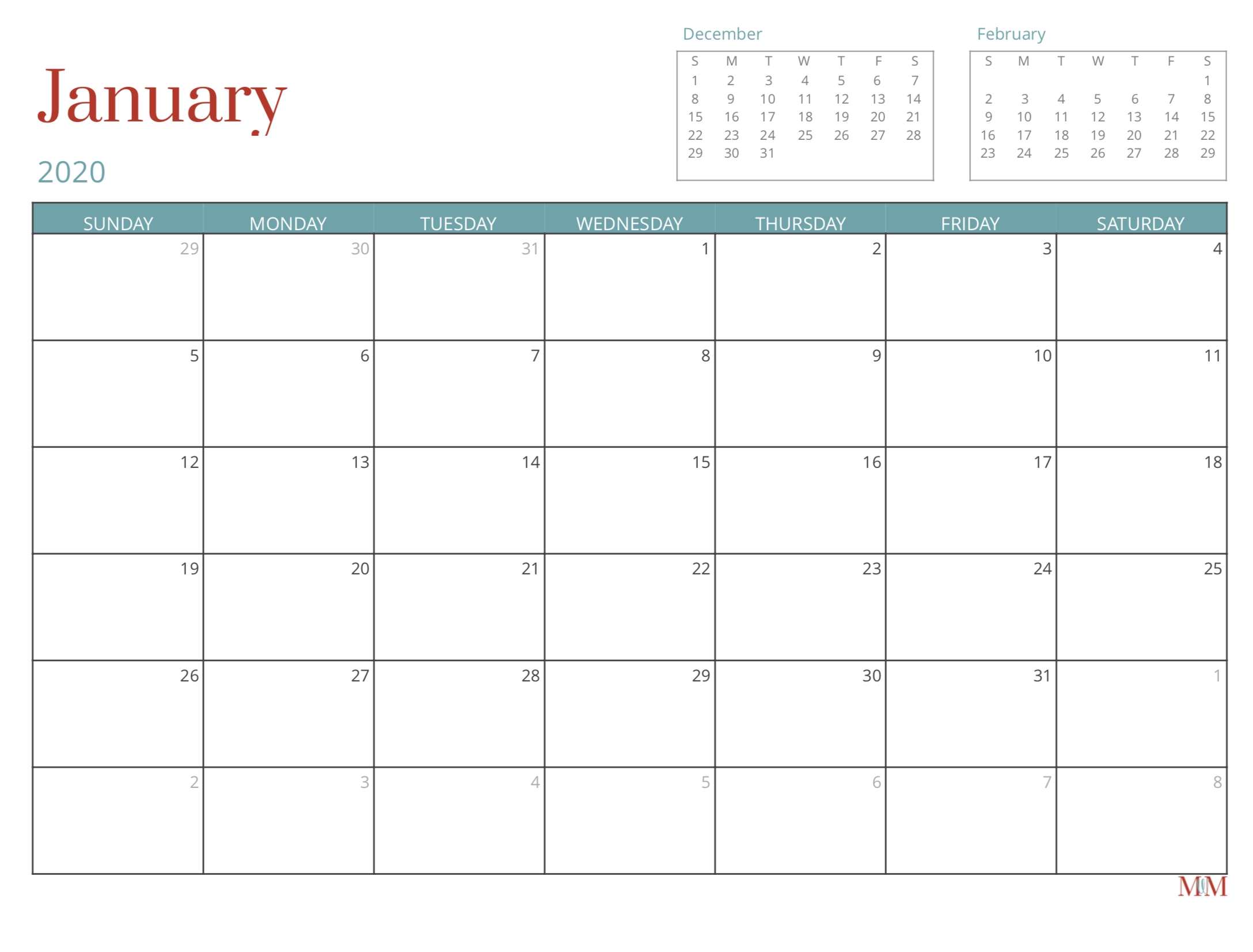 2020 Free Monthly Calendar - Morganize With Me | Morgan