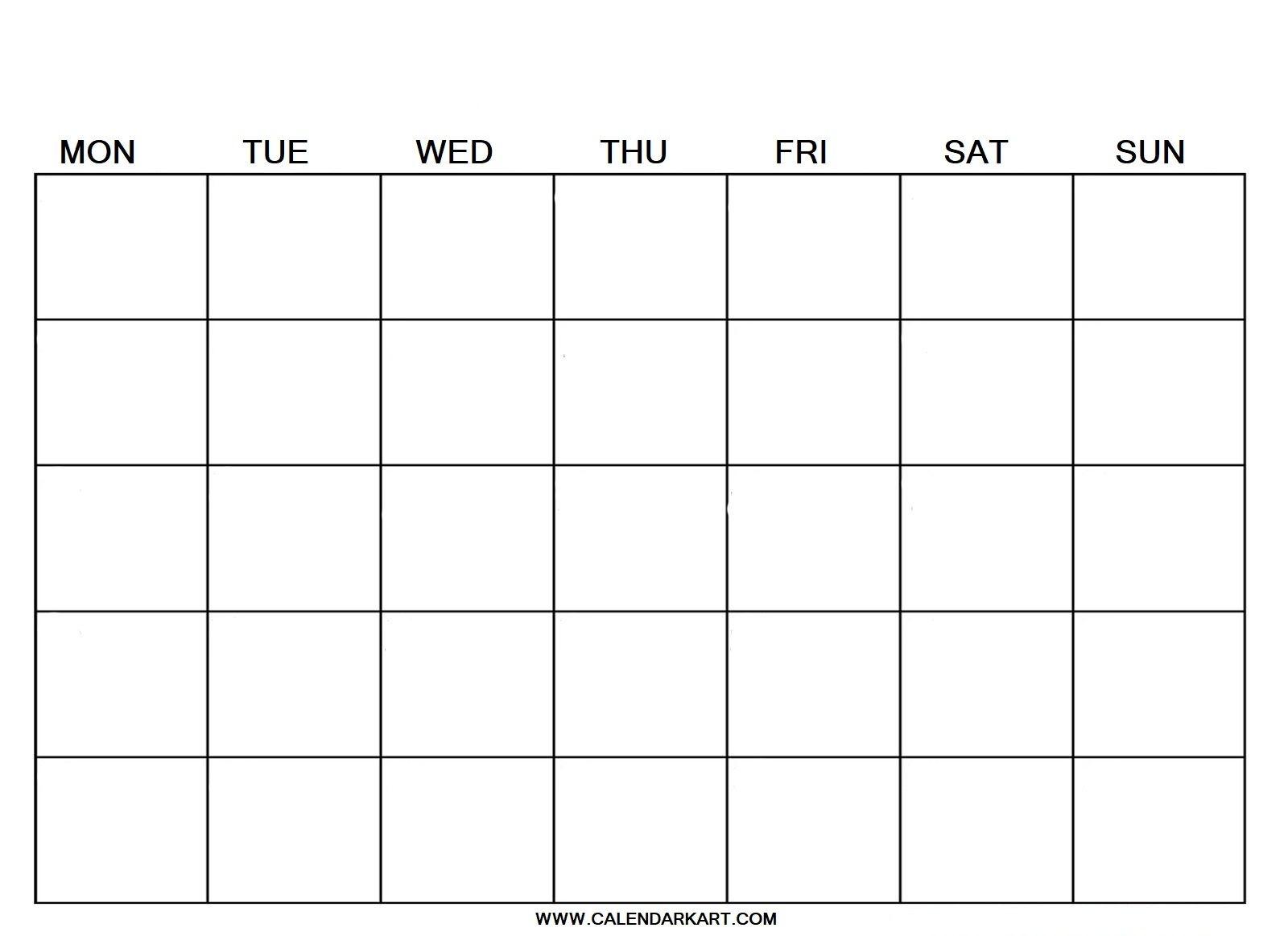 2020 Free Printable Blank Calendar Template » Calendarkart