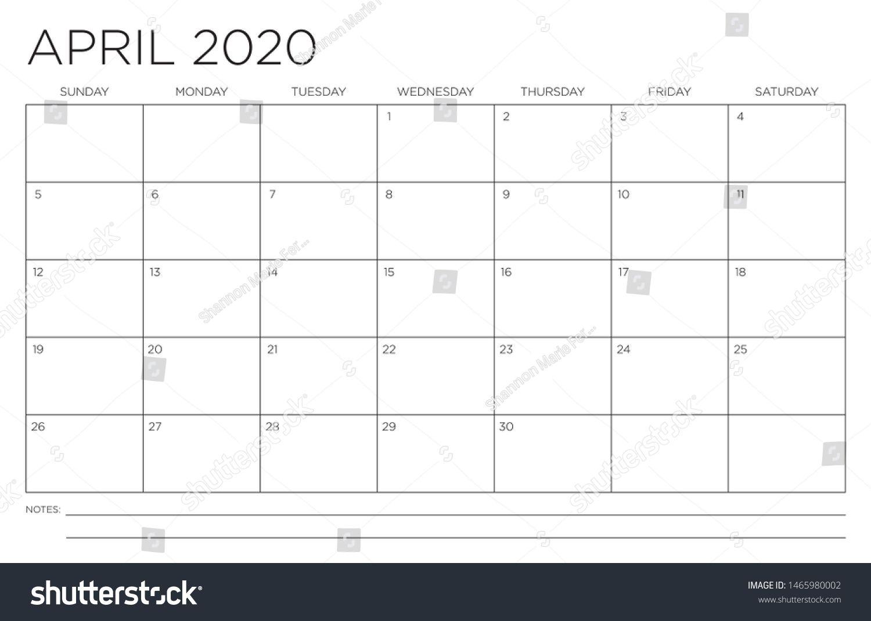 2020 Month April Calendar Fits 11X17 Stock Vector (Royalty