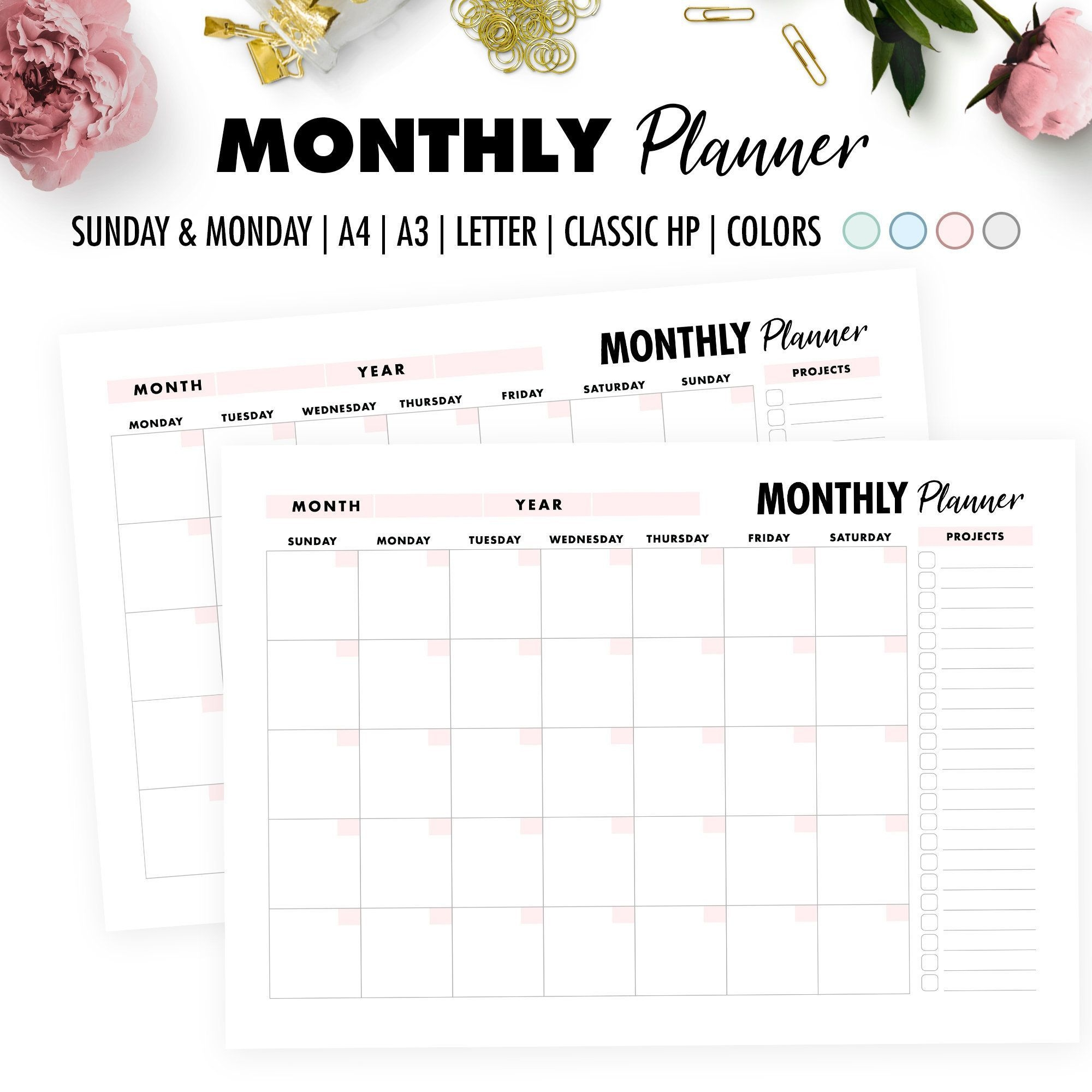 2020 Monthly Calendar Printable, Monthly Planner, A3 - A4