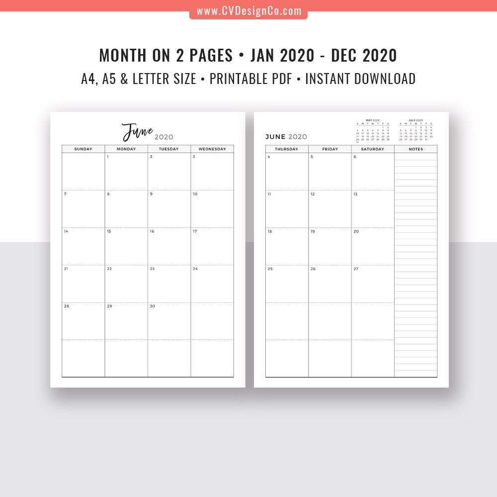 2020 Monthly Planner, 12 Month Calendar, Monthly Organizer, Month On 2  Pages, Printable Planner Inserts, Best Planner Template, Filofax A5, A4,  Letter