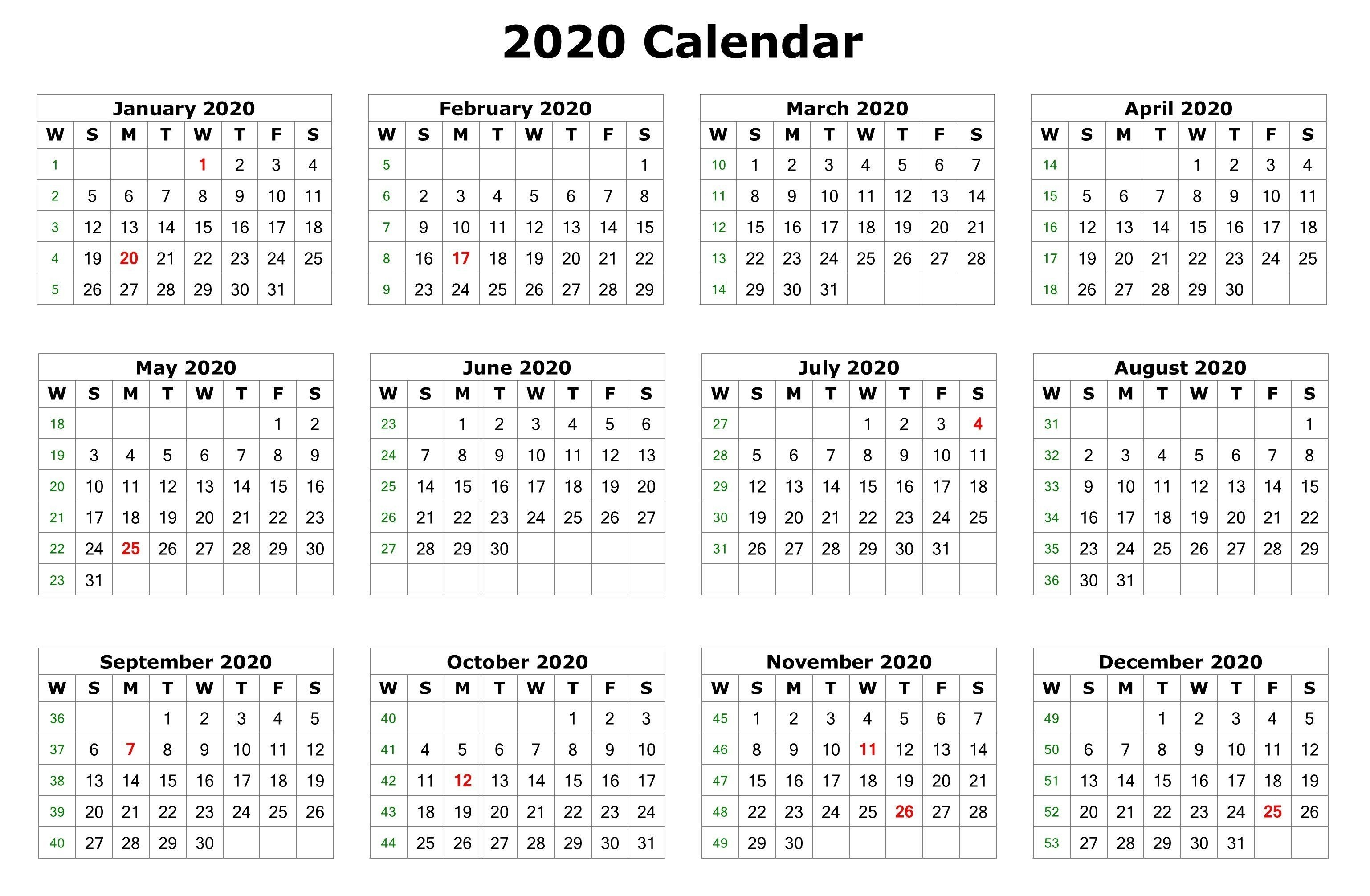 2020 One Page Calendar Printable (With Images) | Calendar