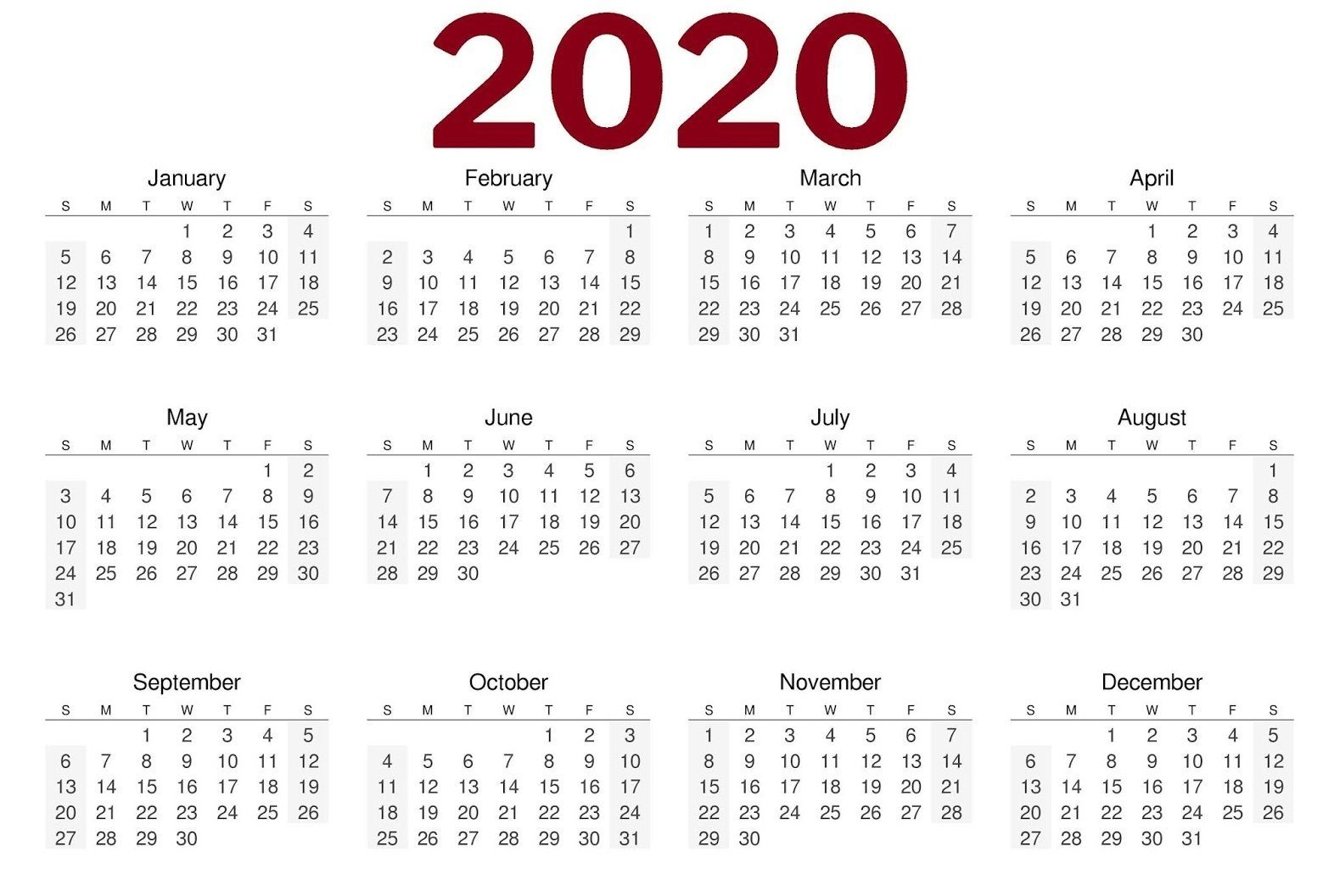 2020 One Page Calendar Printable (With Images) | Printable
