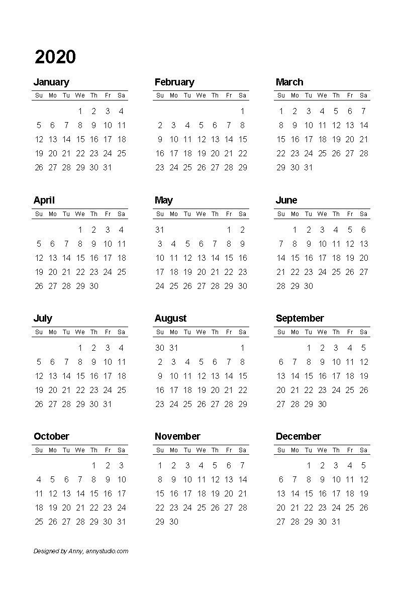 2020 Pdf Printable Calendar   Printable Calendar Template
