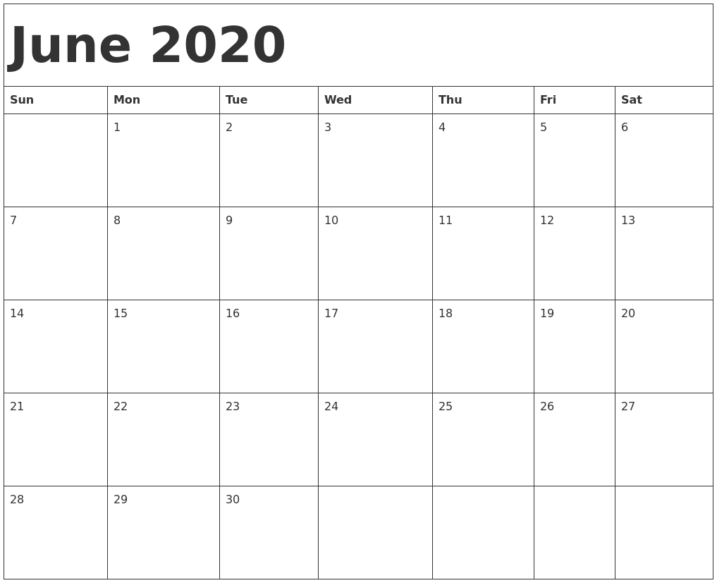 2020 Printable Calendar Starting With Monday - Calendar