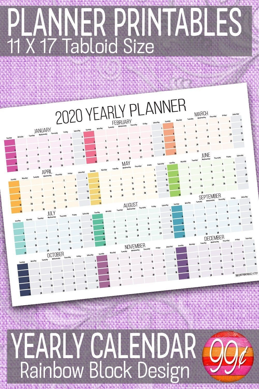 2020 Yearly Calendar   11X17   Printable   Color Block