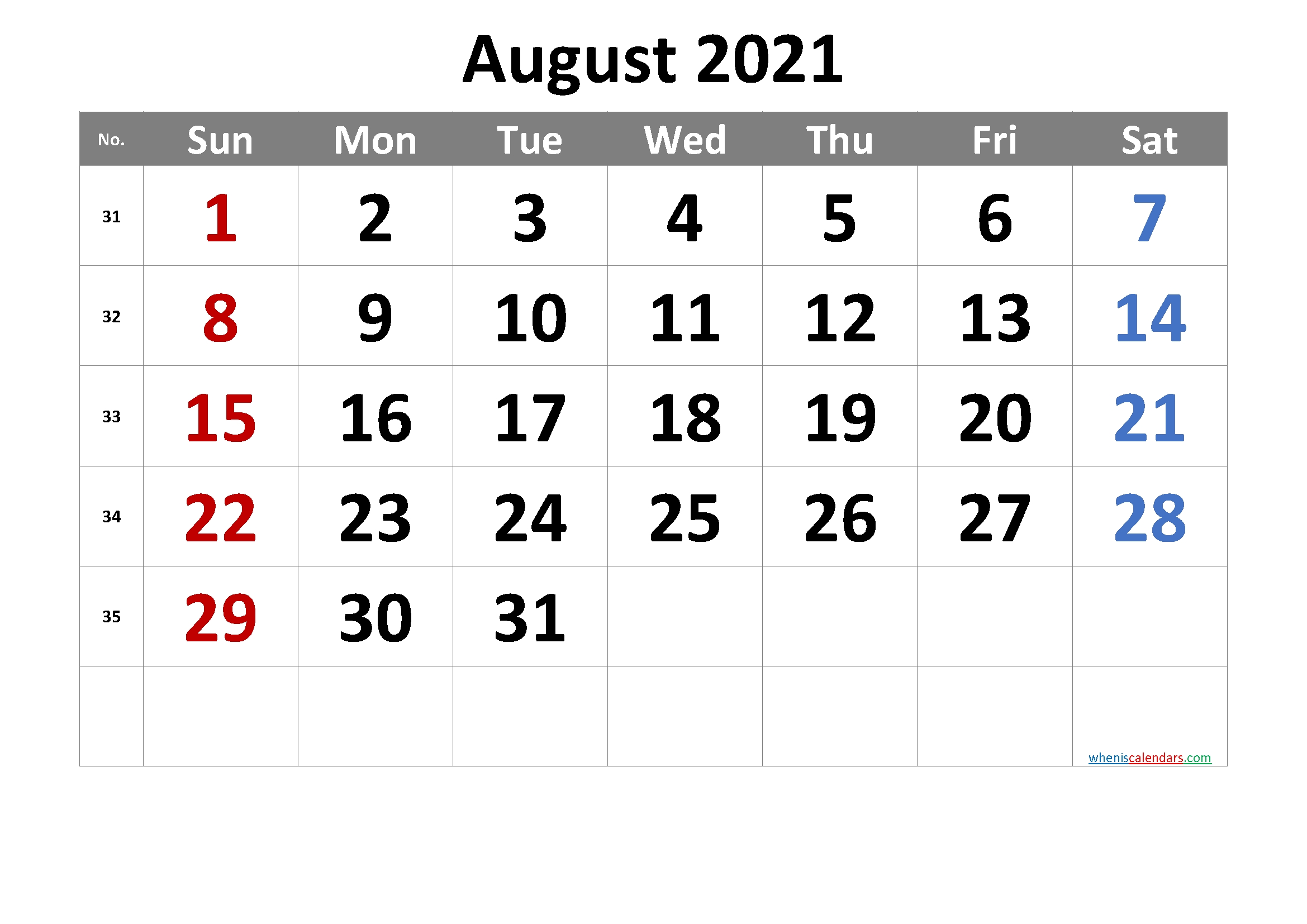 2021 August Free Printable Calendar [Free Premium] | Free