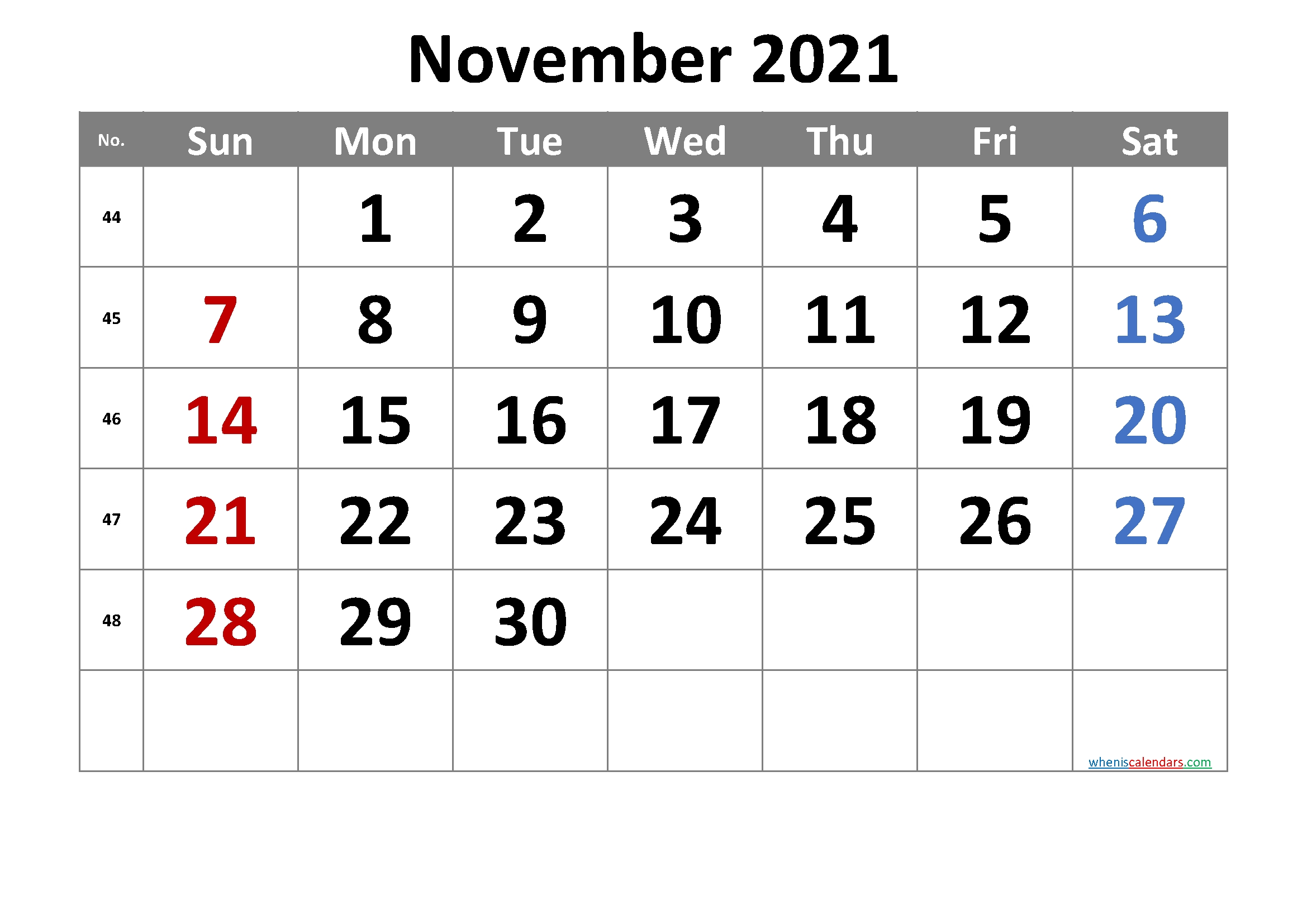 2021 November Free Printable Calendar [Free Premium] | Free