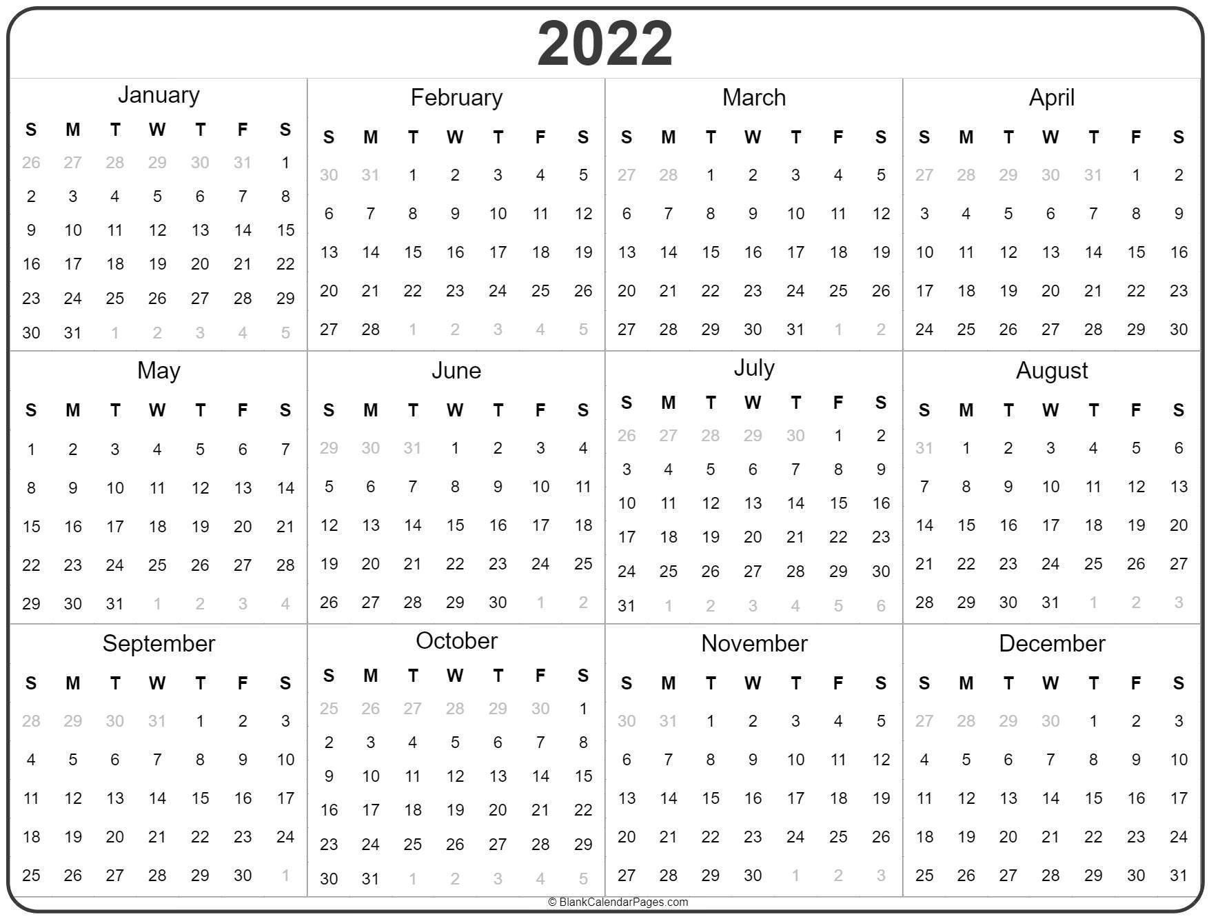 2022 Year Calendar | Yearly Printable