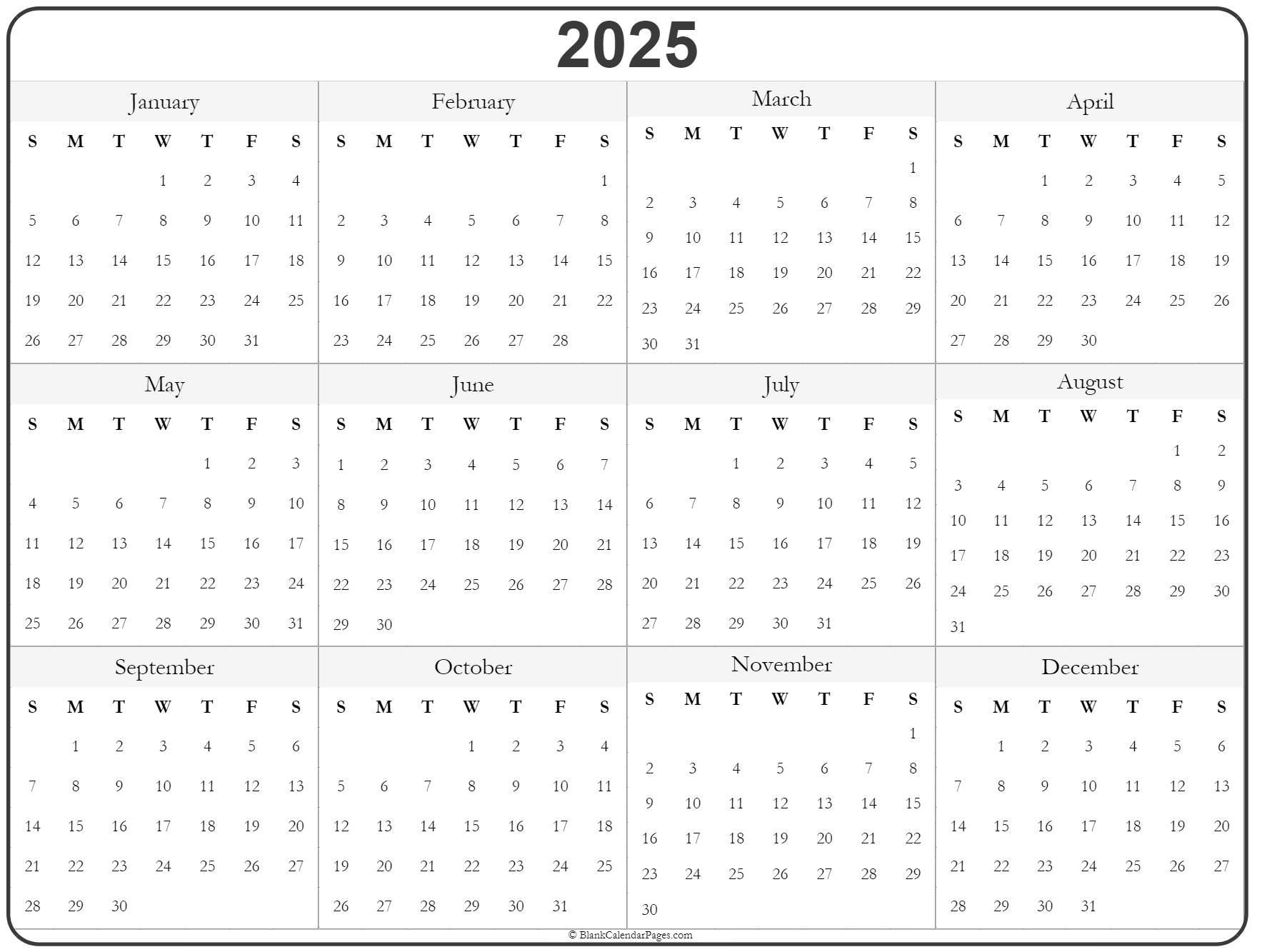 2025 Year Calendar   Yearly Printable