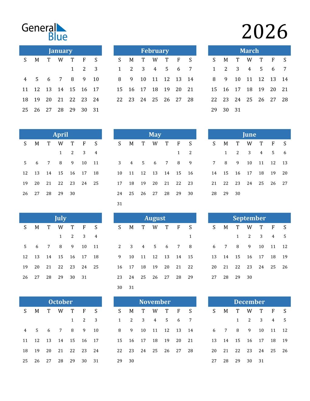 2026 Calendar (Pdf, Word, Excel)