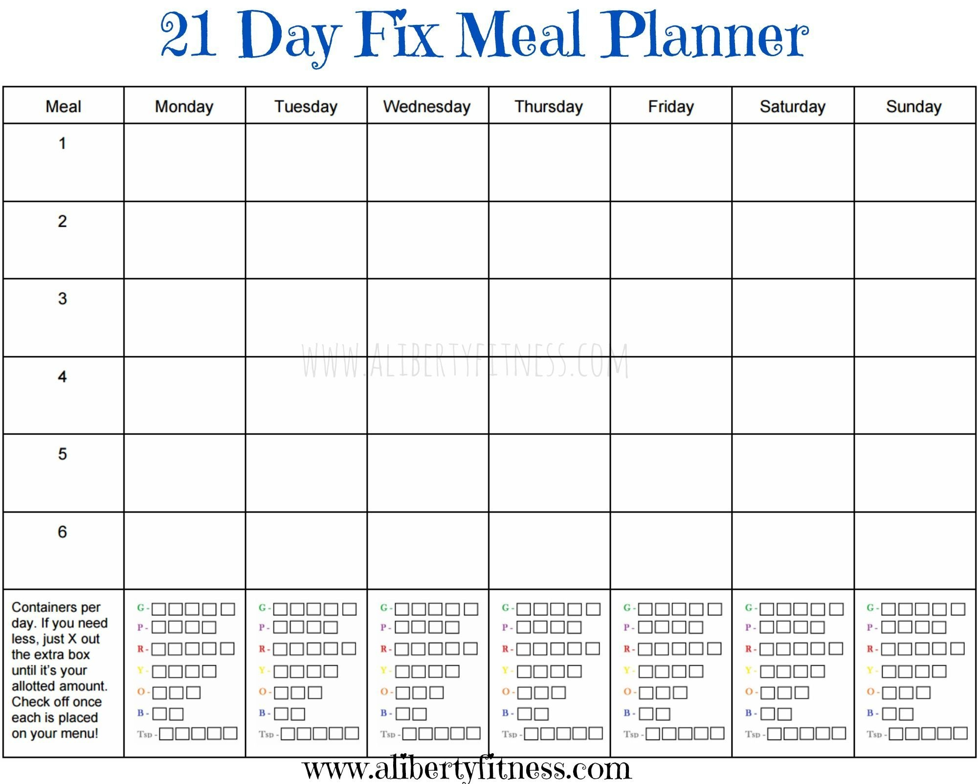 21 Day Fix Meal Planner And Grocery List (With Images) | 21