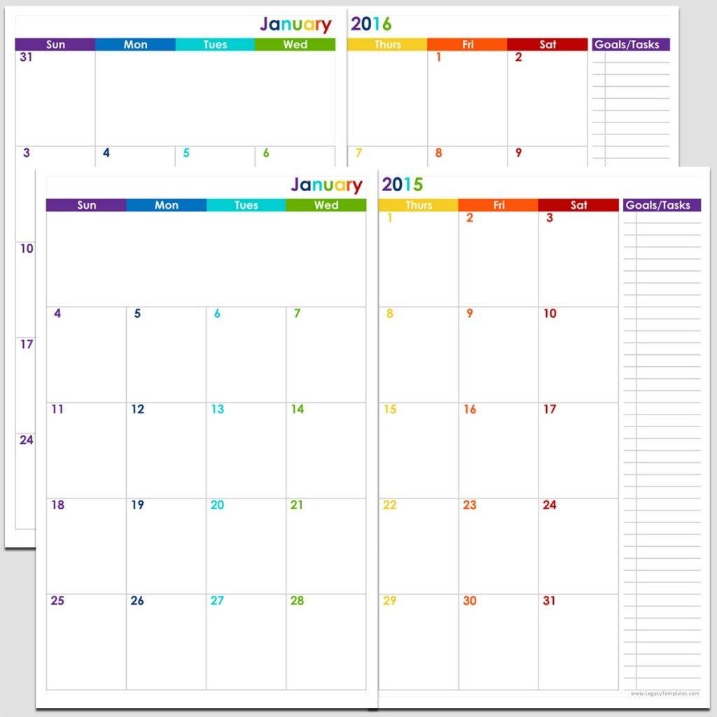 24-Months 2 Page Calendar - Half Size | Legacy Templates