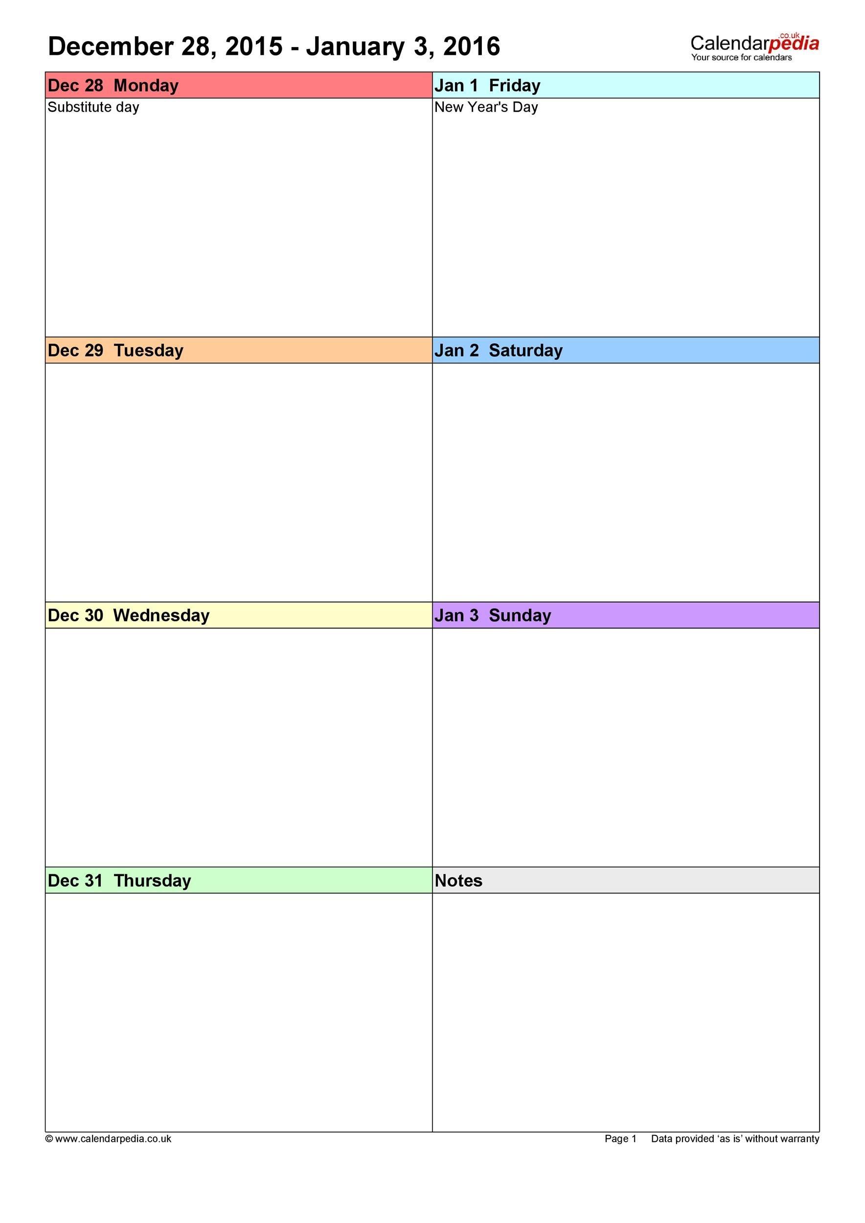 26 Blank Weekly Calendar Templates [Pdf, Excel, Word] ᐅ