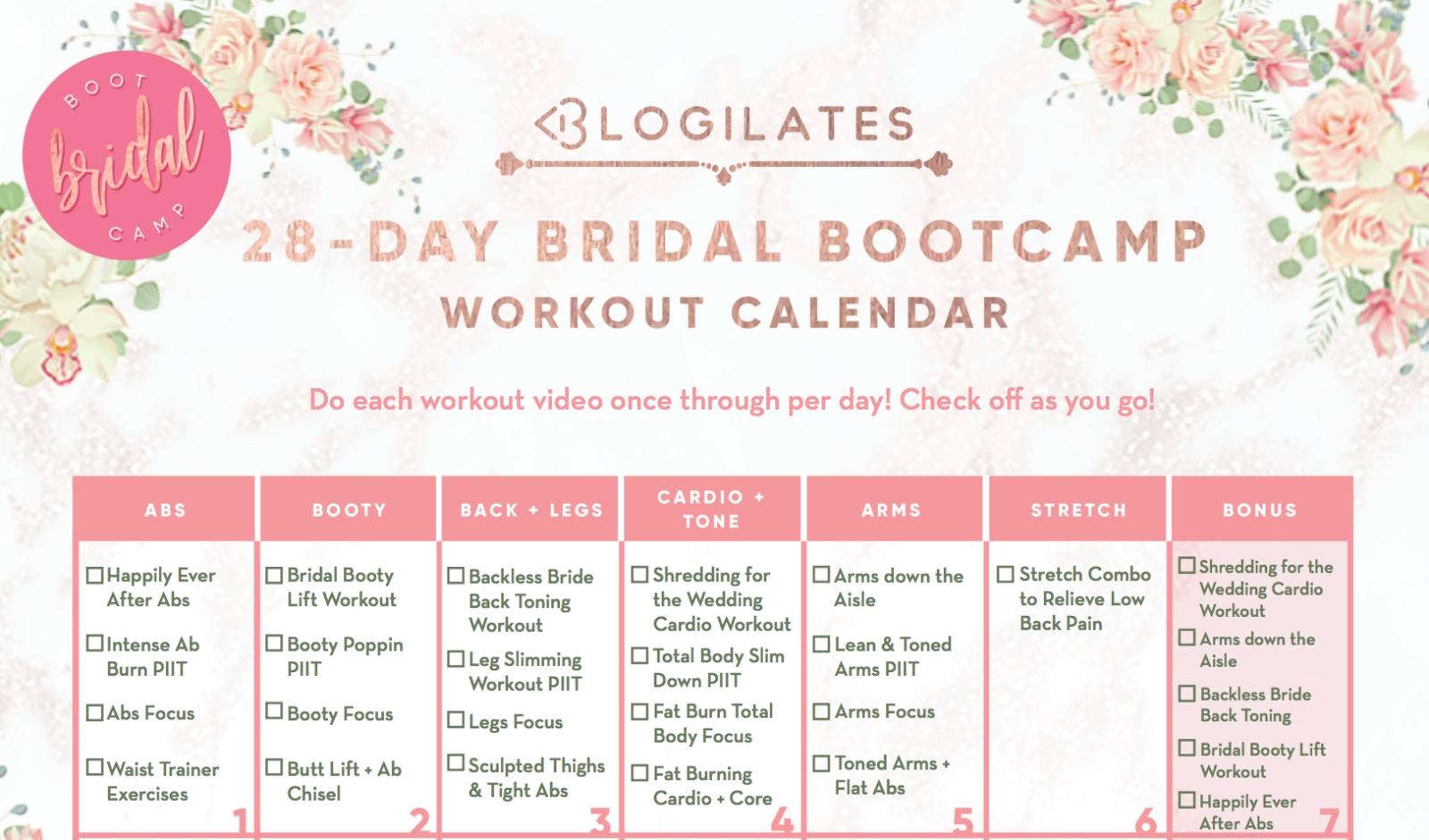28-Day Bridal Bootcamp Workout Calendar – Blogilates