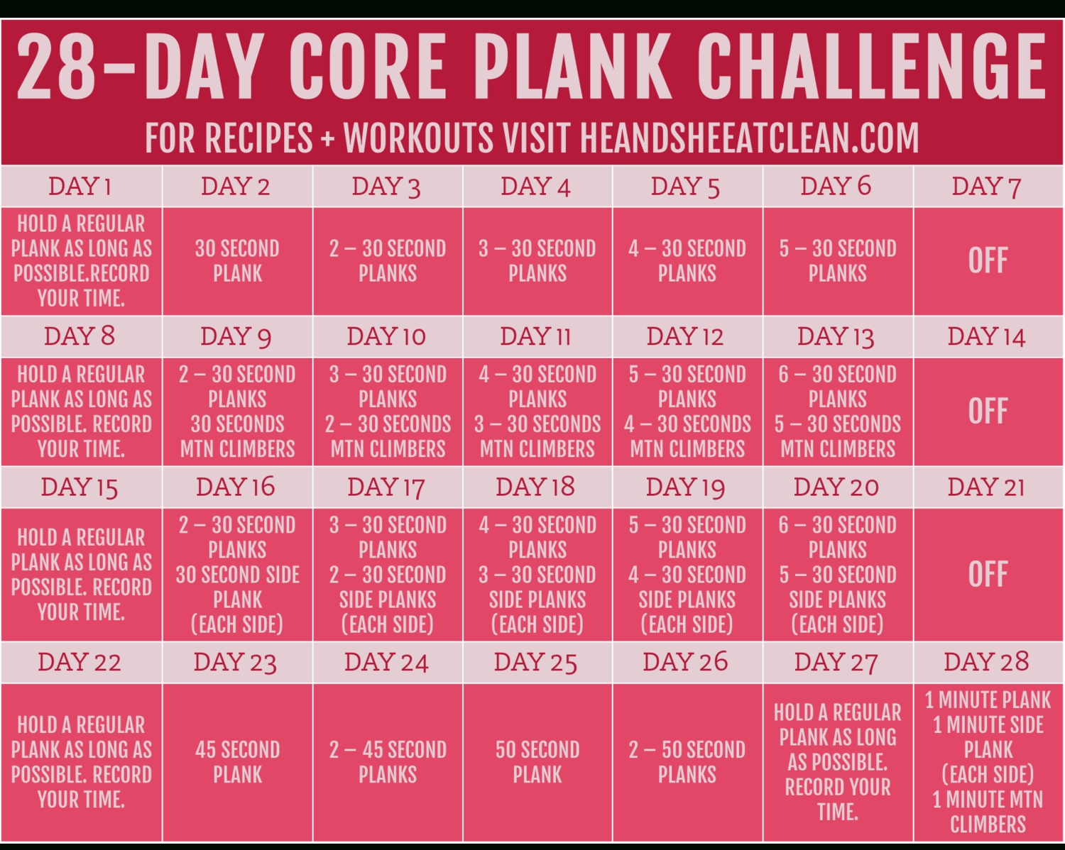 28-Day Plank Challenge With Free Printable Calendar (With