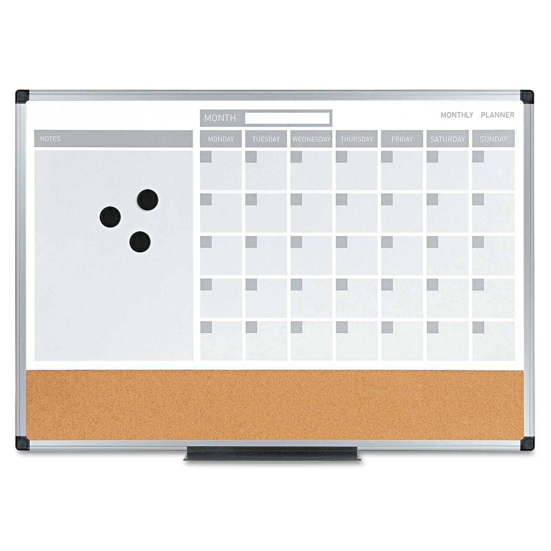 3-In-1 Calendar Planner Dry Erase Board, 24 X 18, Aluminum Frame