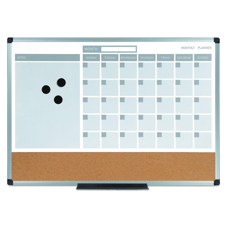 3-In-1 Calendar Planner Dry Erase Board, 24 X 18, Aluminum