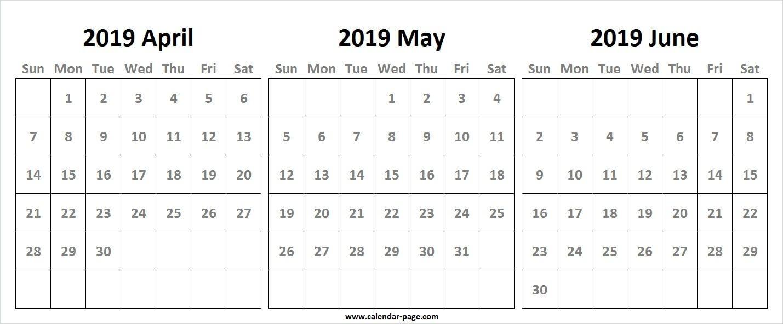 3 Month Calendar 2019 April May June | Blank 3 Month Calendar