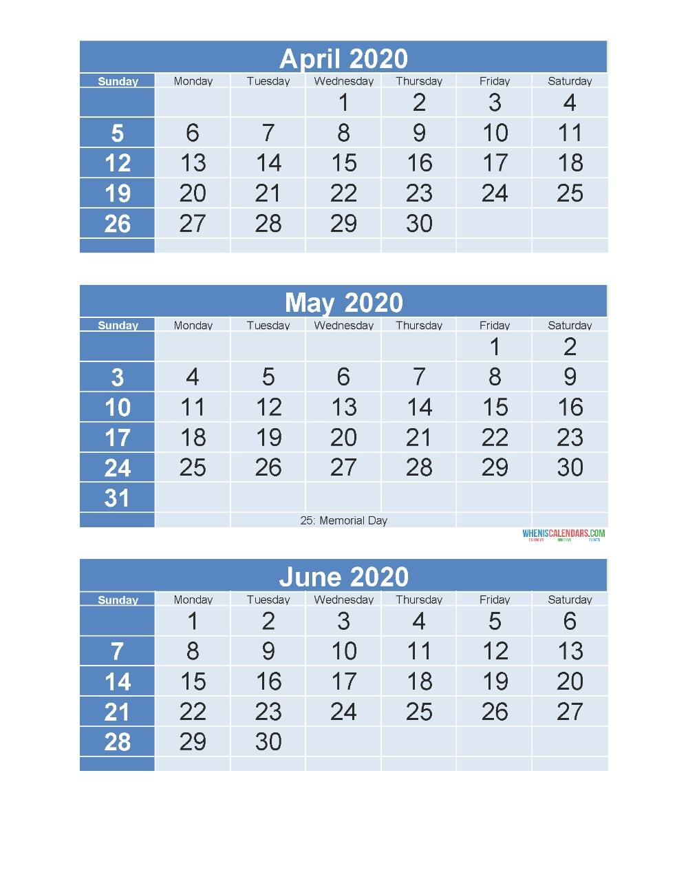 3 Month Calendar 2020 Printable April May June Printable