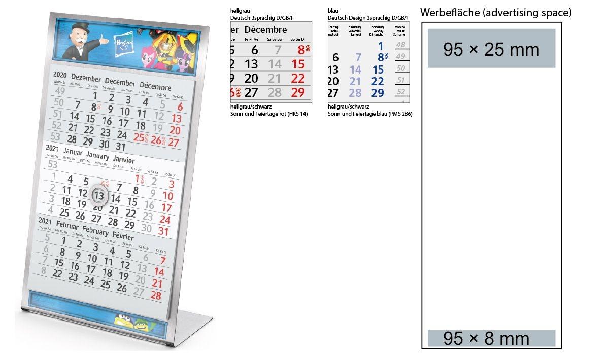 3-Month Calendar 2021 Desktop 3 Steel 1-Year | 3-Month Planner With Logo  Printed | Deprismedia