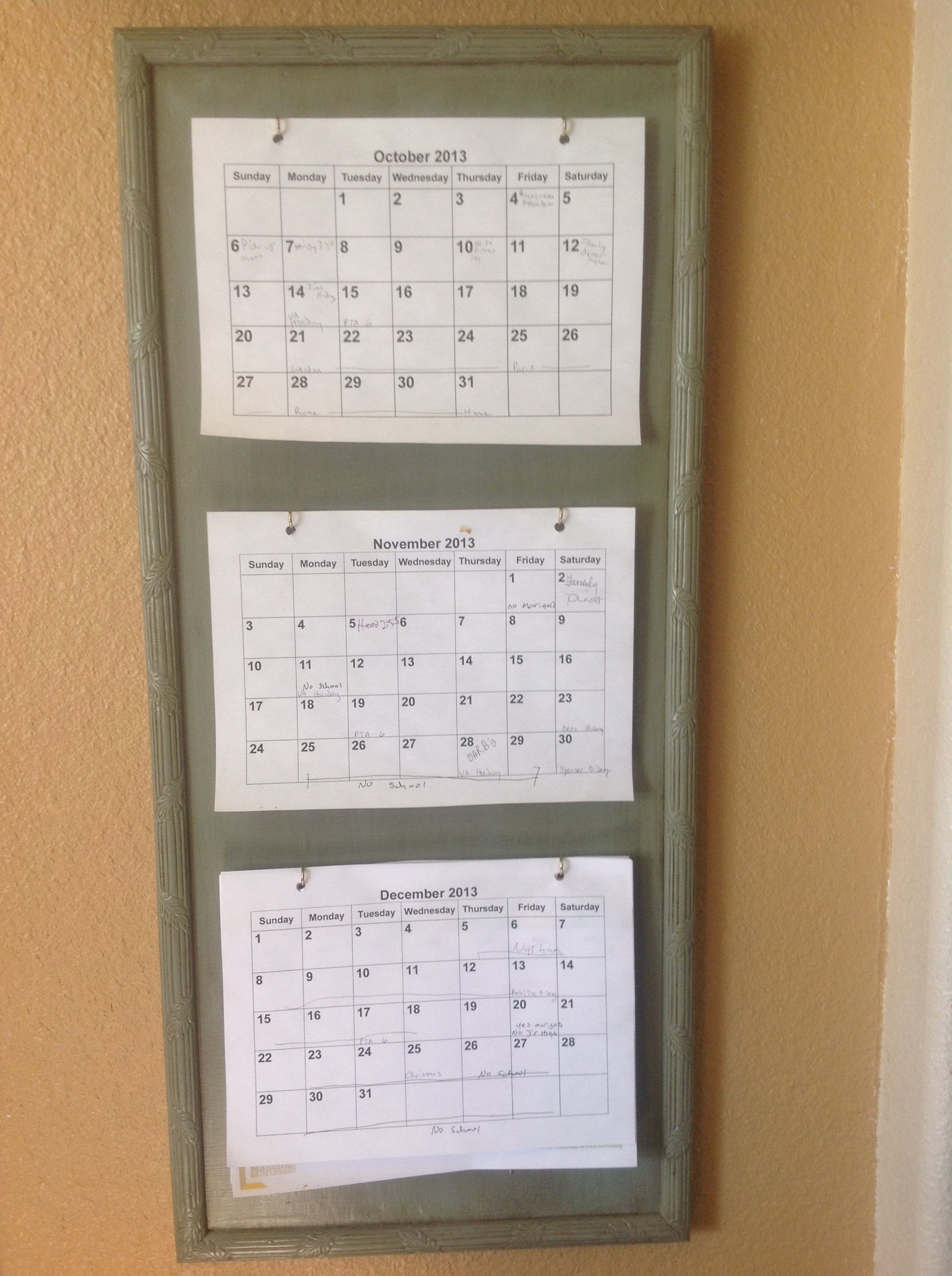 3 Month Calendar Holder Diy - Great For Planning And