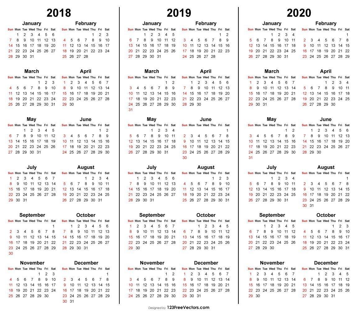 3 Year Calendar 2018 2019 2020 Printable (С Изображениями
