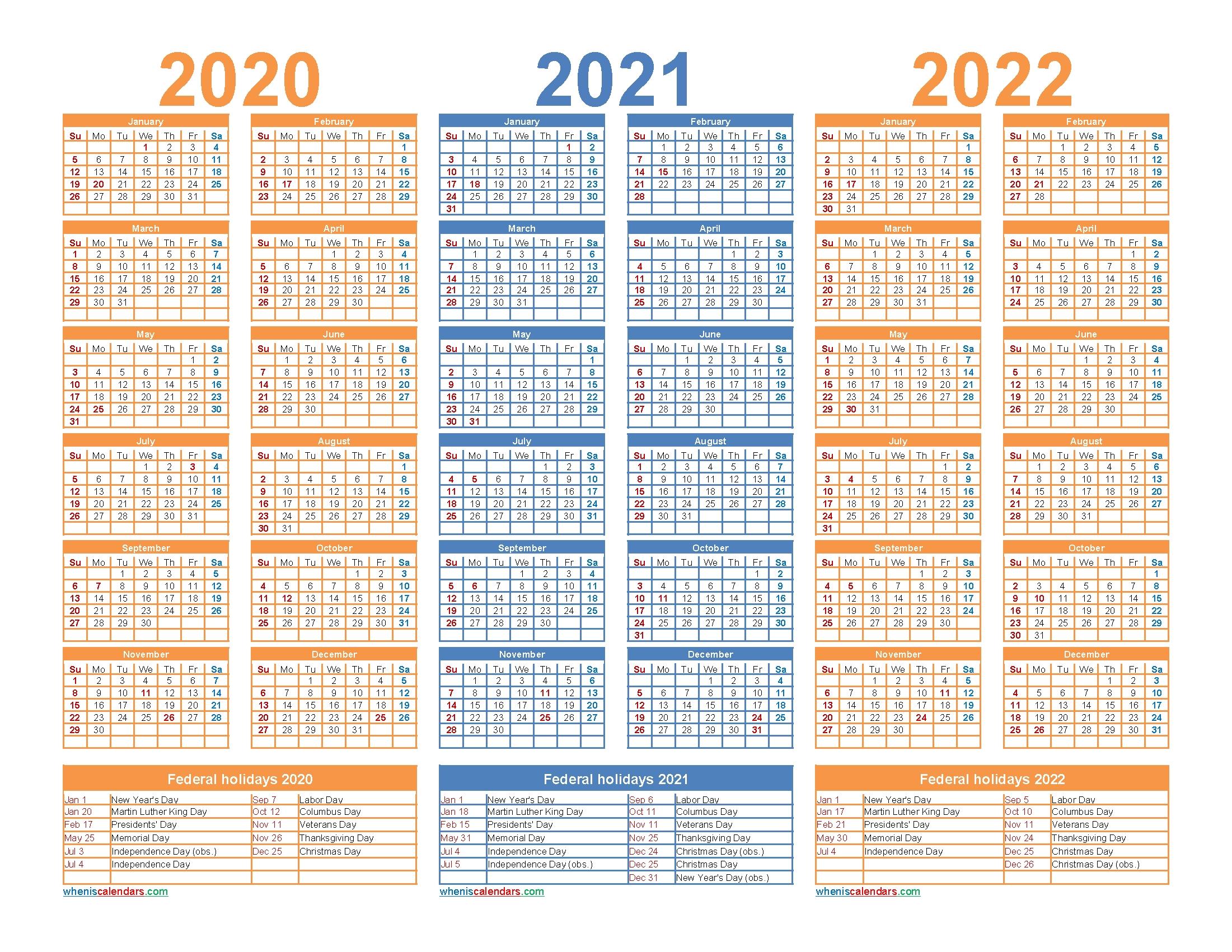 3 Year Calendar 2020 To 2022 Printable | Free Printable 2020